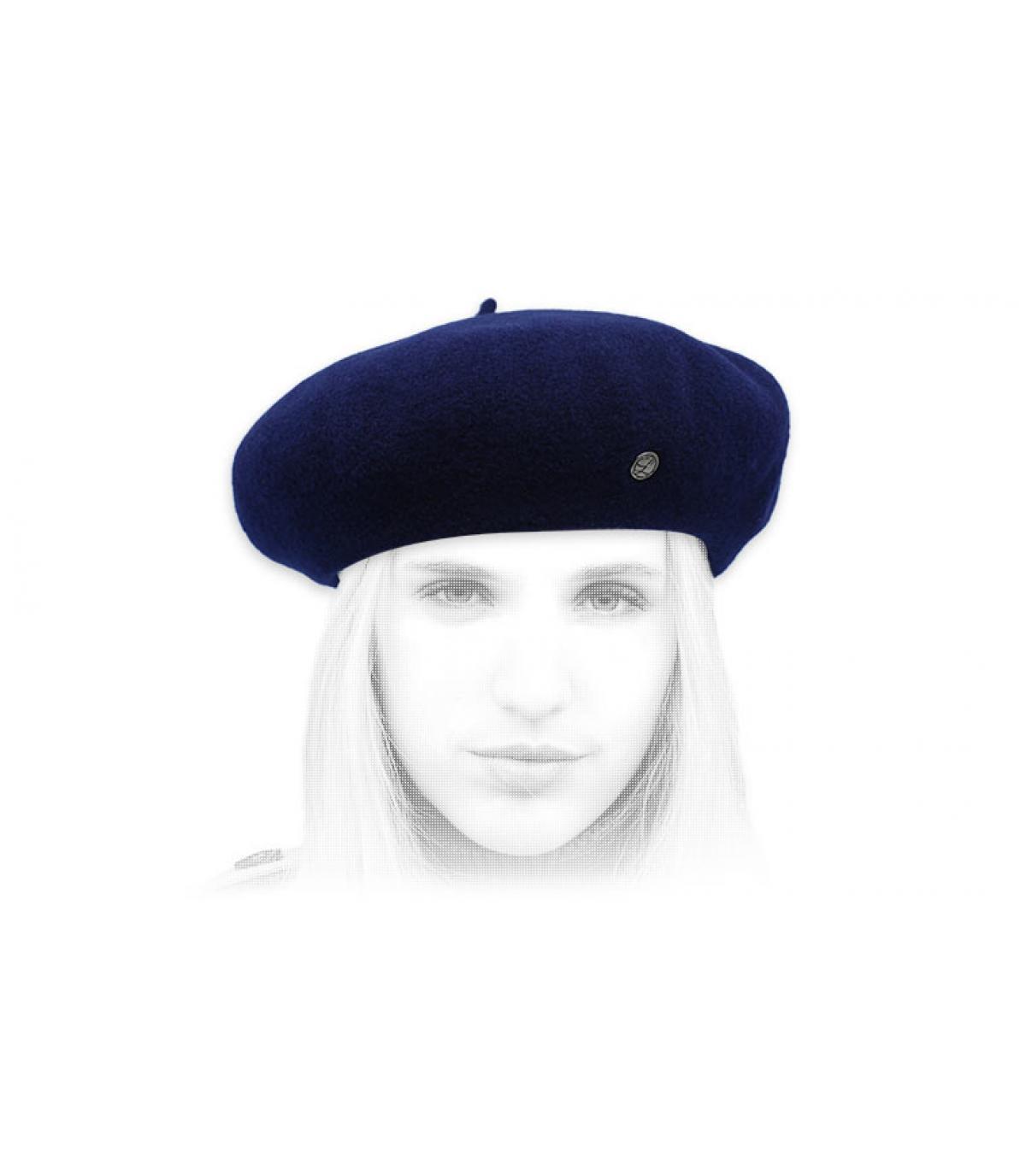 berretto di cashmere blu scuro