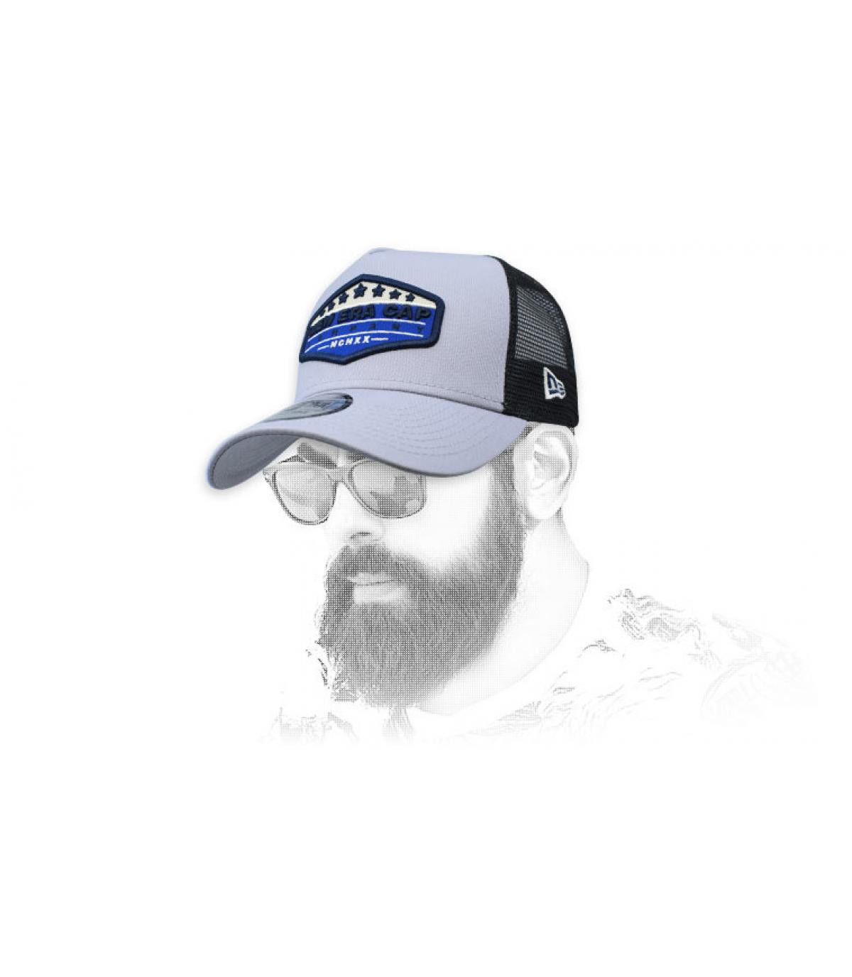 trucker New Era blu grigio patch