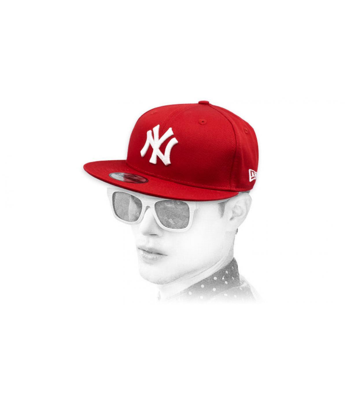 NY snapback bianco bordeaux
