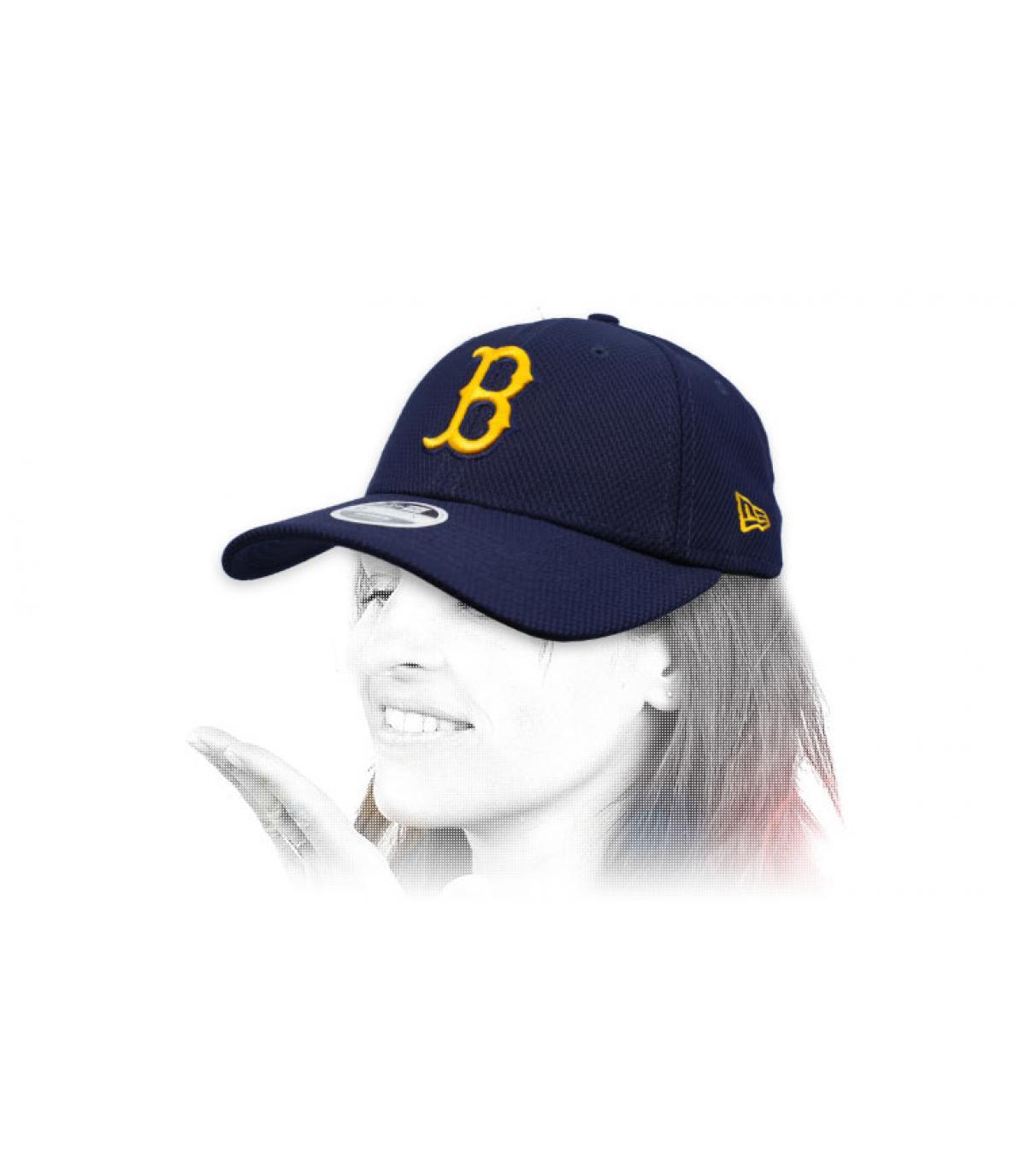 berretto B donna blu giallo
