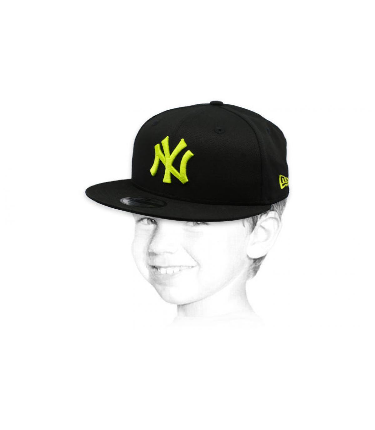 berretto da bambino NY nero giallo