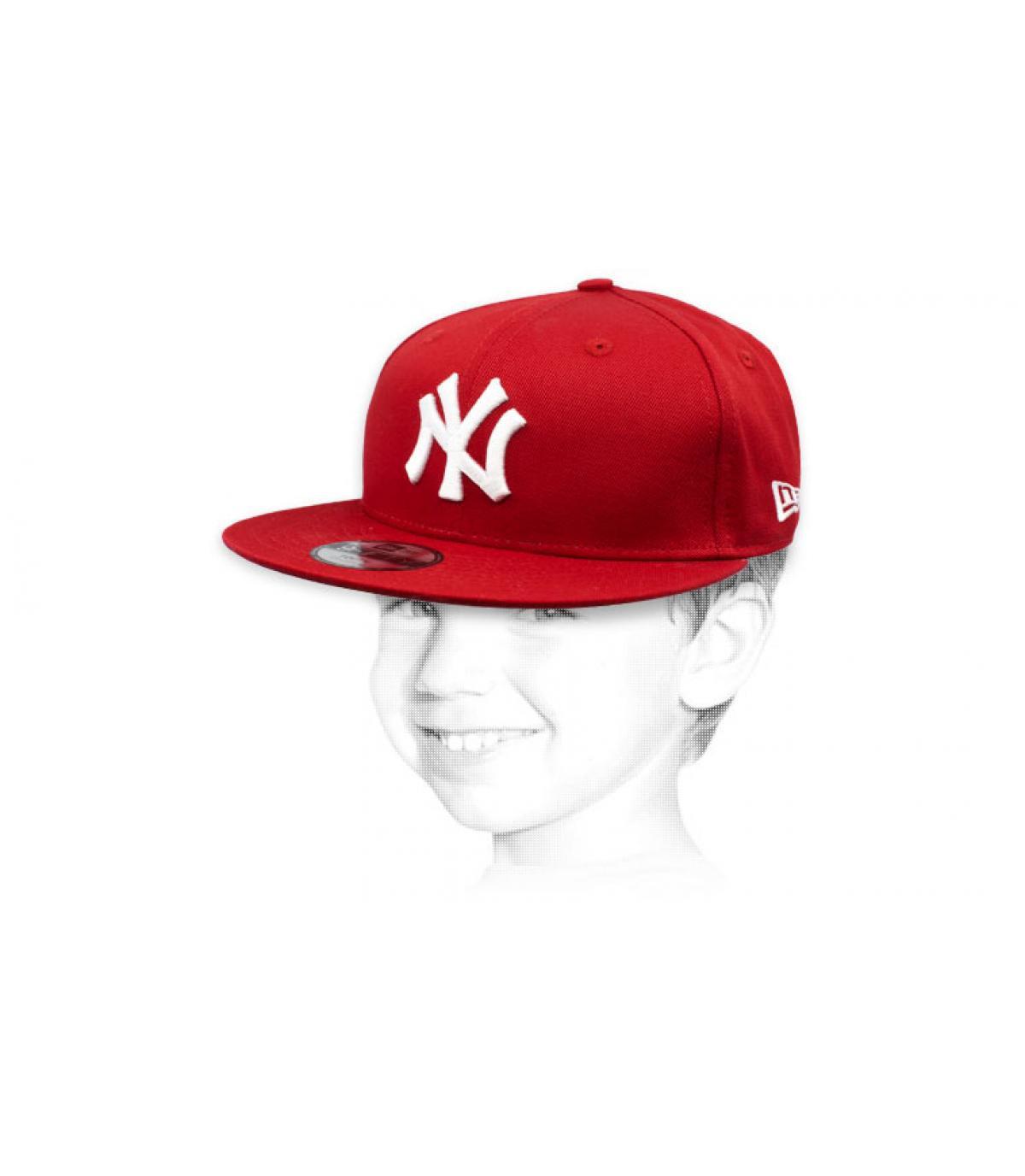 berretto bambino NY rosso bianco