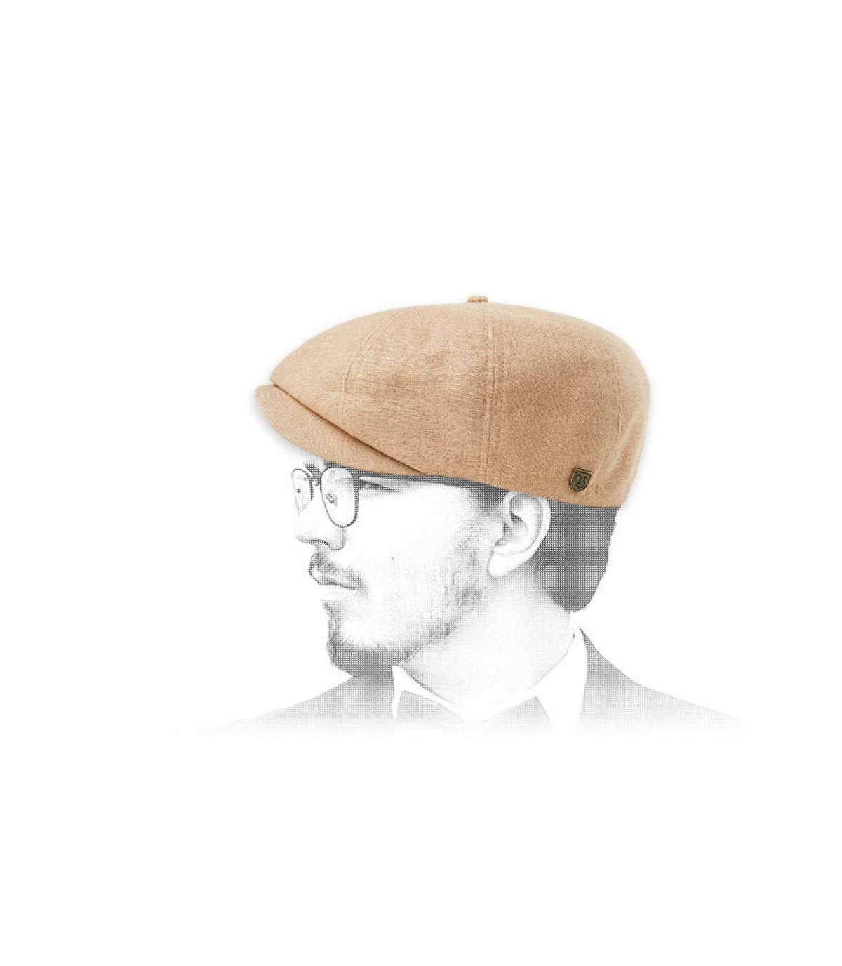 berretto newsboy di lino beige