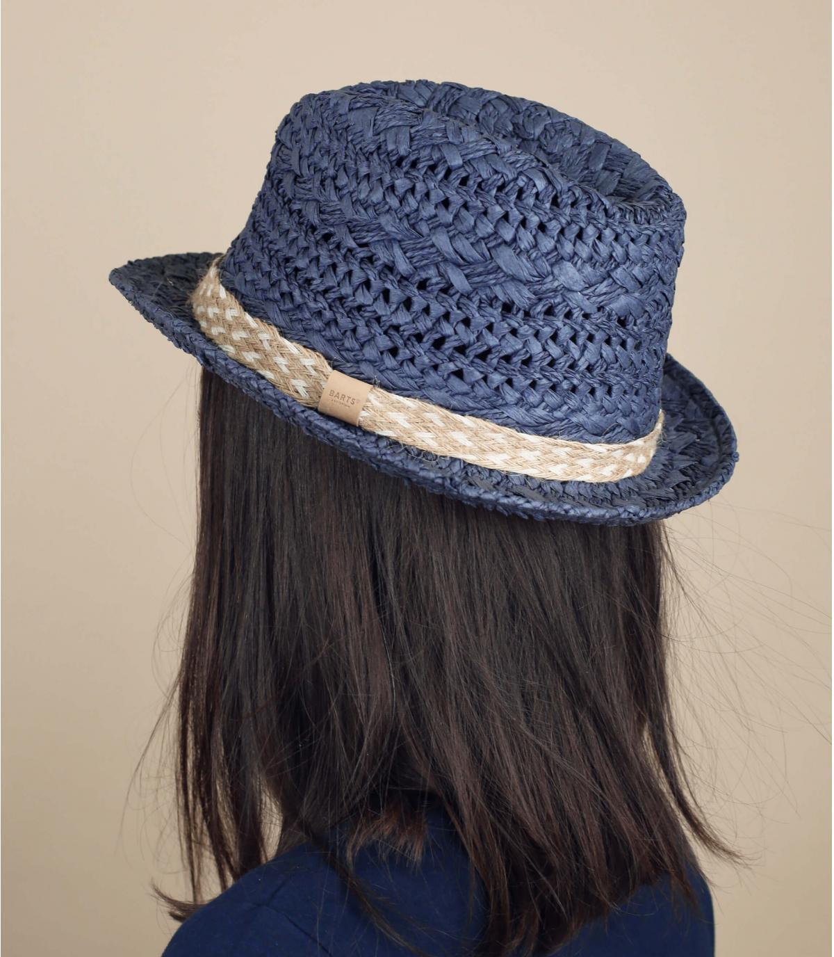 cappello trilby di paglia blu