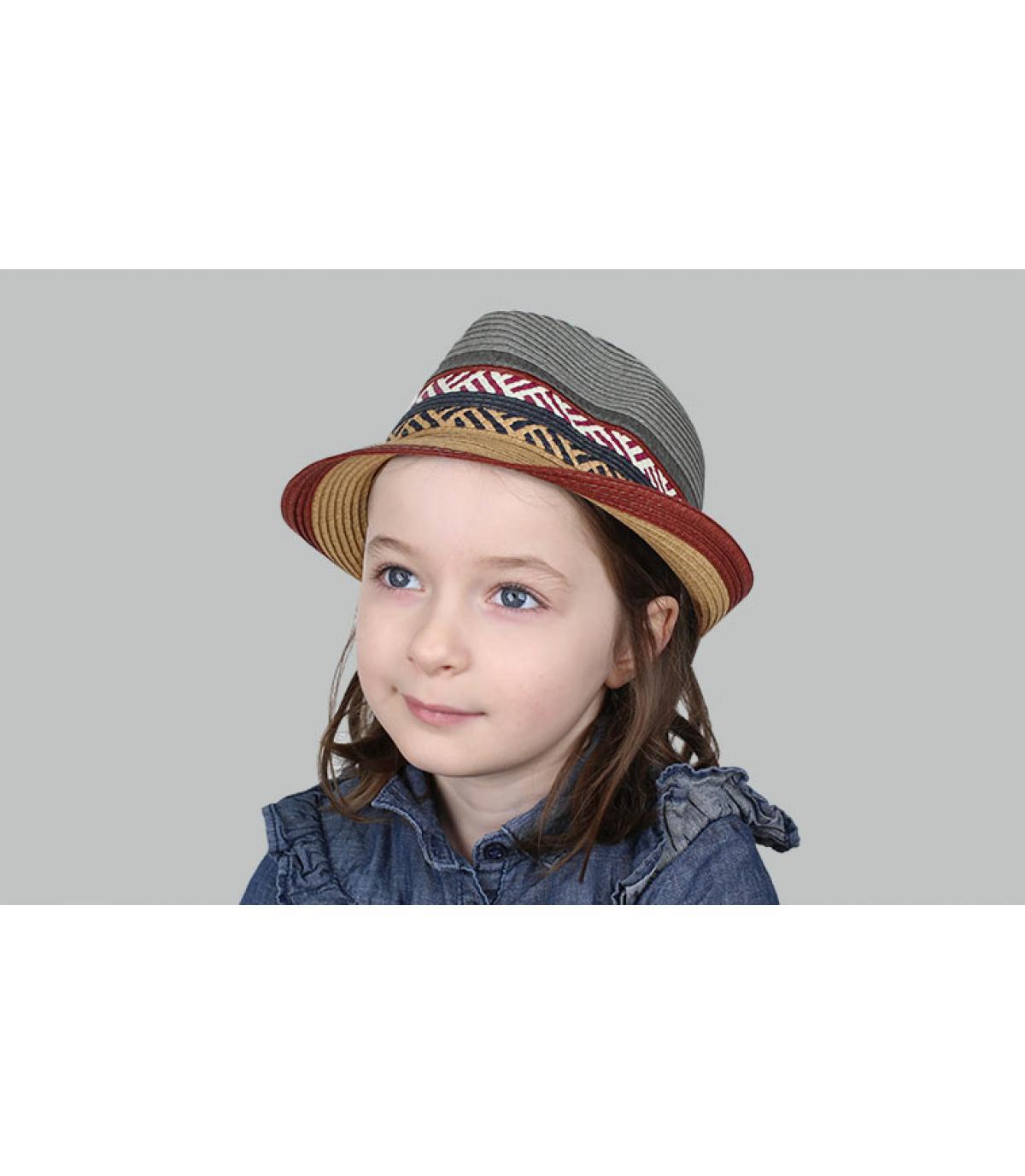 cappello di paglia bambino grigio bordeaux