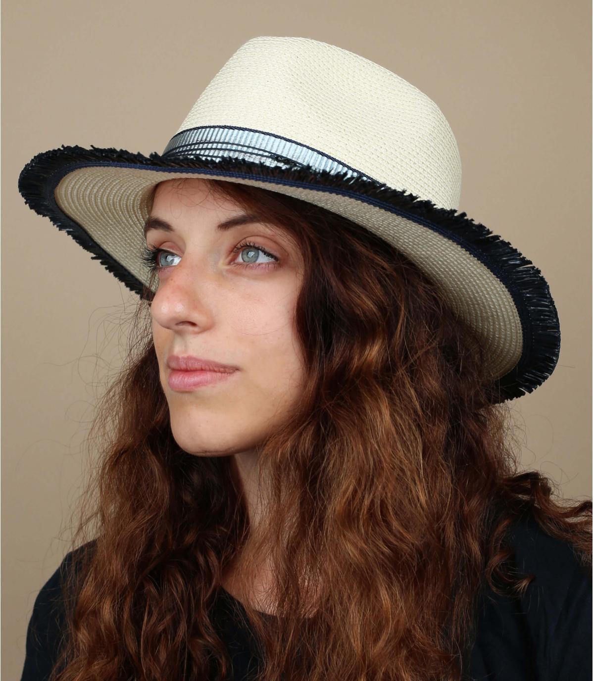cappello di paglia bianco blu
