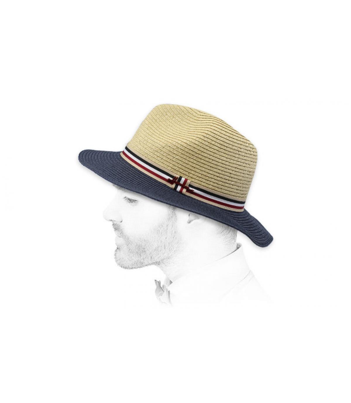 Cappello di paglia blu beige