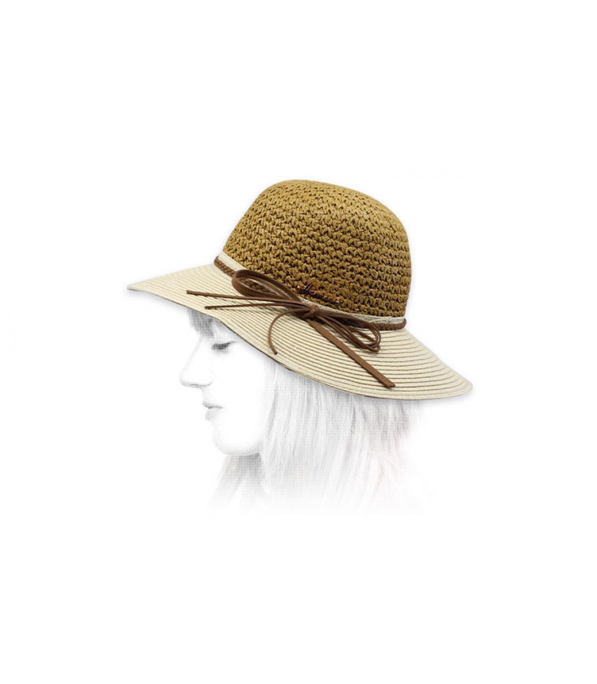 cappello di paglia bicolore