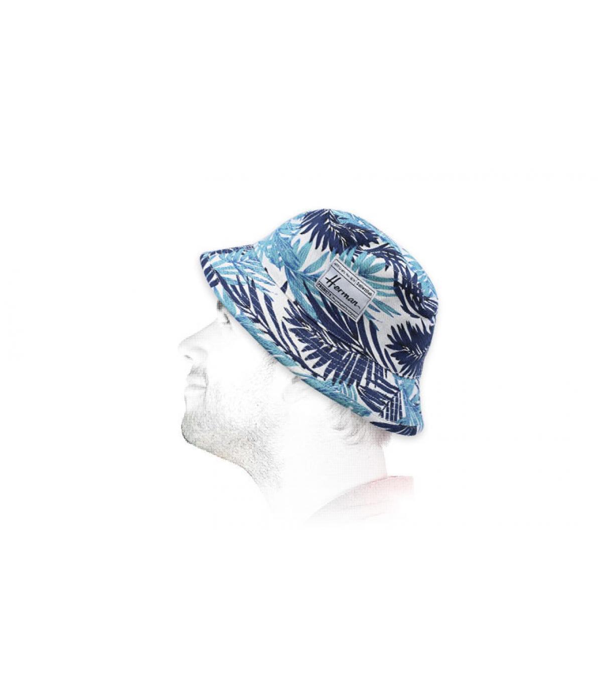 foglie blu stampato bob