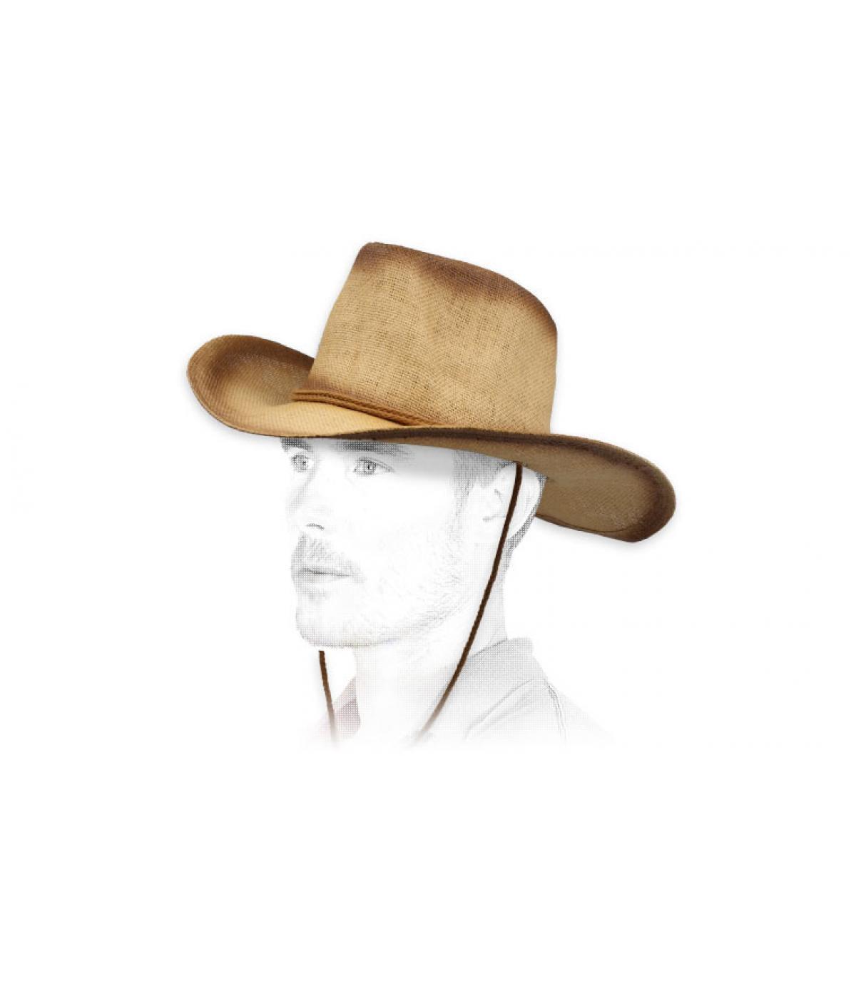 cappello da cowboy di paglia