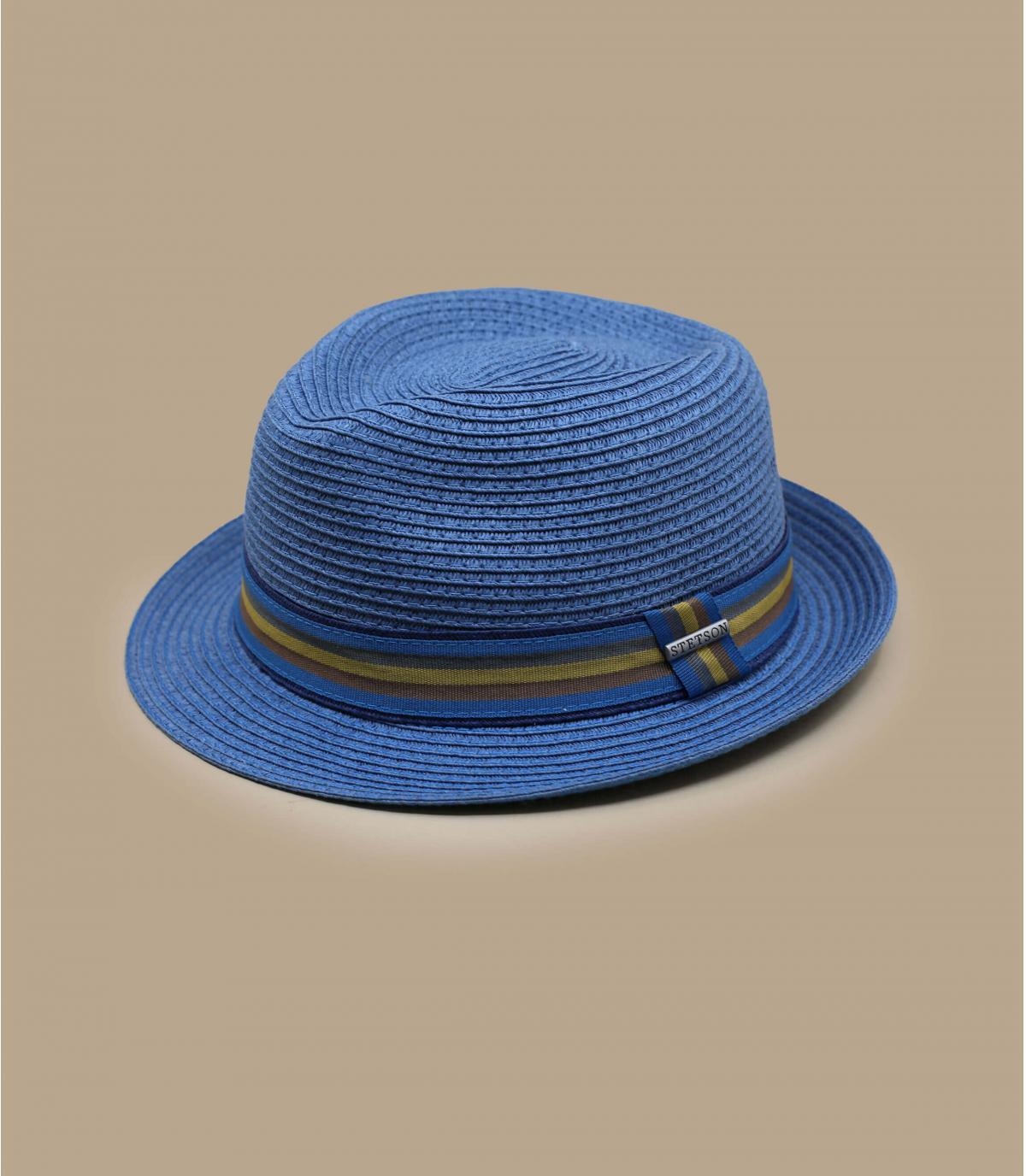Stetson di paglia blu trilby