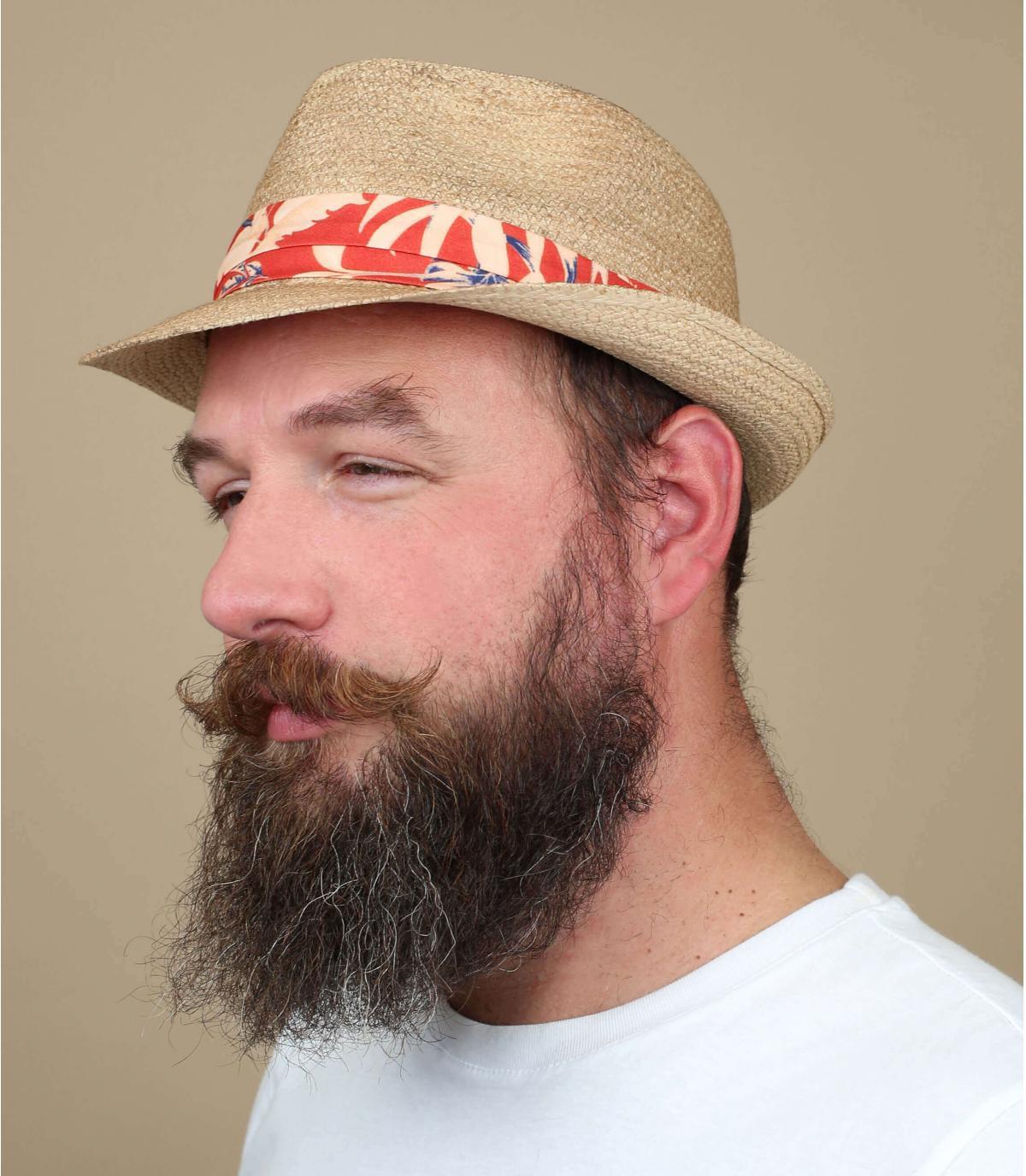 cappello di paglia con strisce arancioni