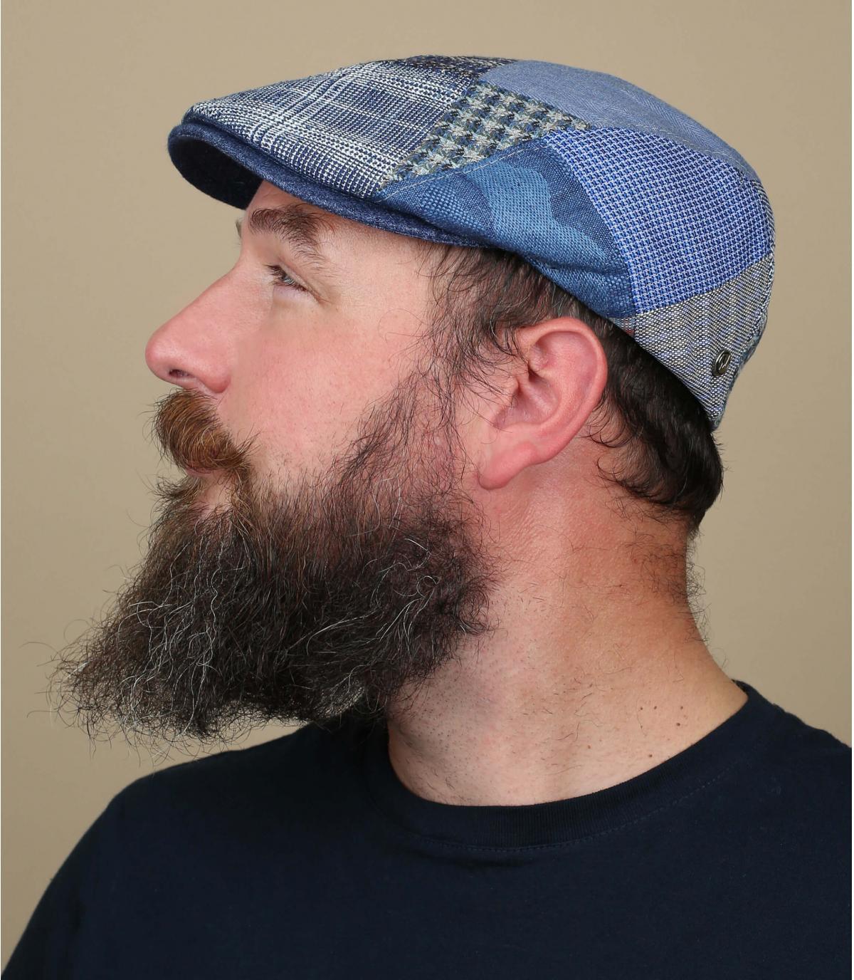 patchwork di berretto di lino blu