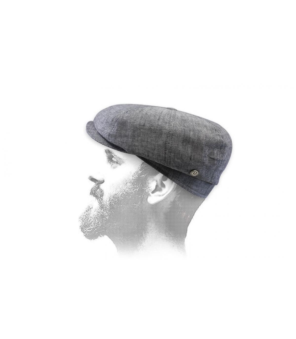 berretto newsboy di lino grigio