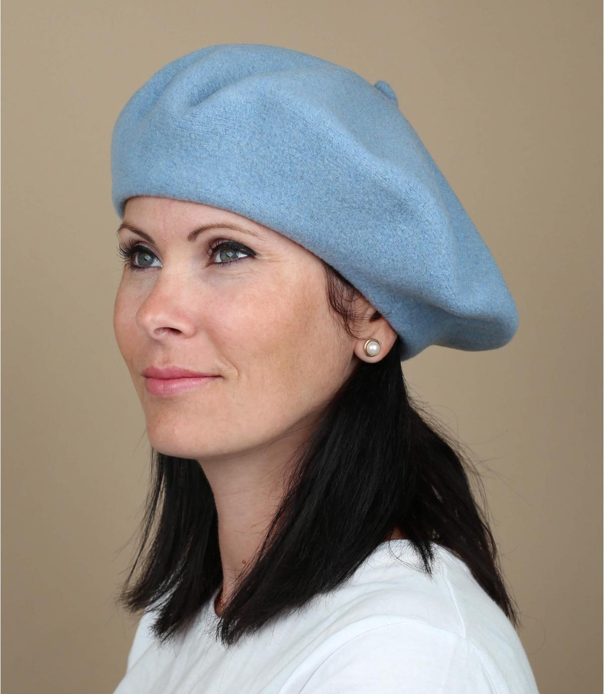 Berretto lana donna blu