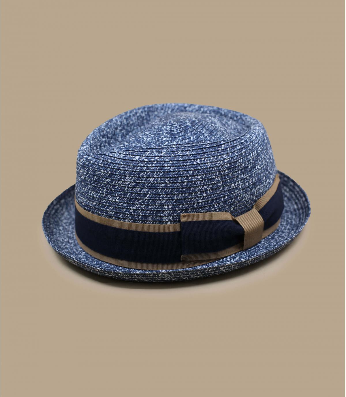 treccia di cappello di paglia blu