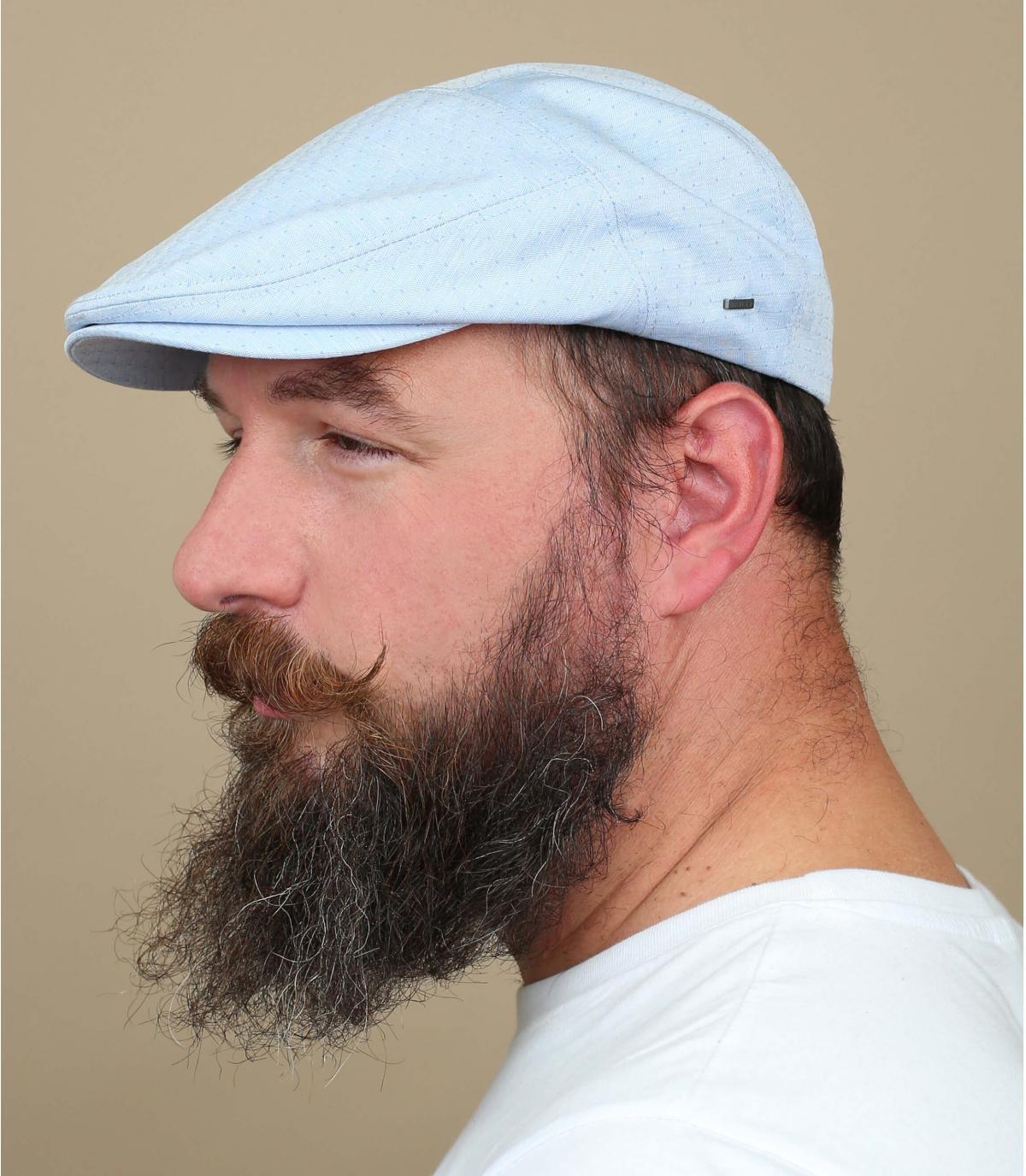jacquard in cotone blu a berretto