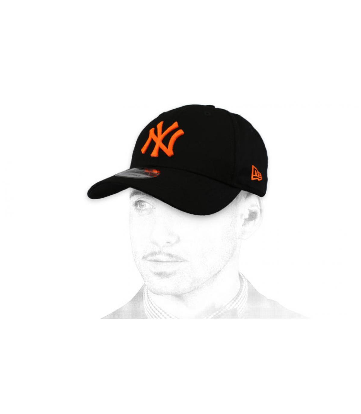 cap NY nero arancio