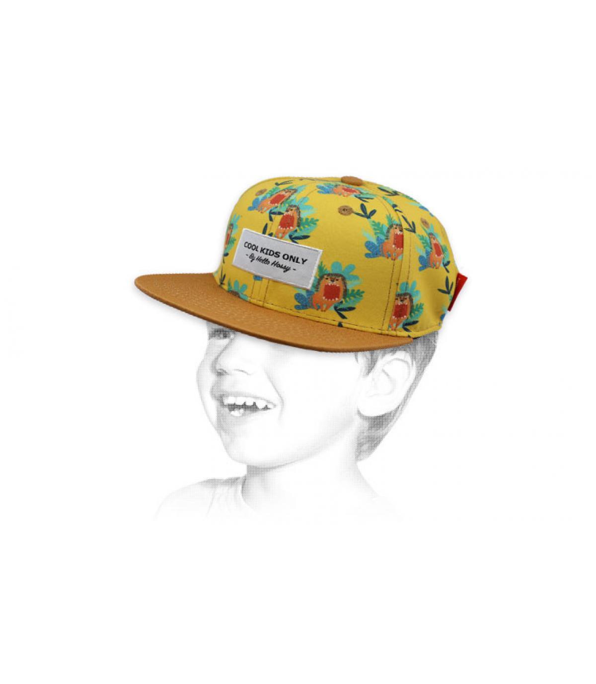 berretto giallo leone bambino