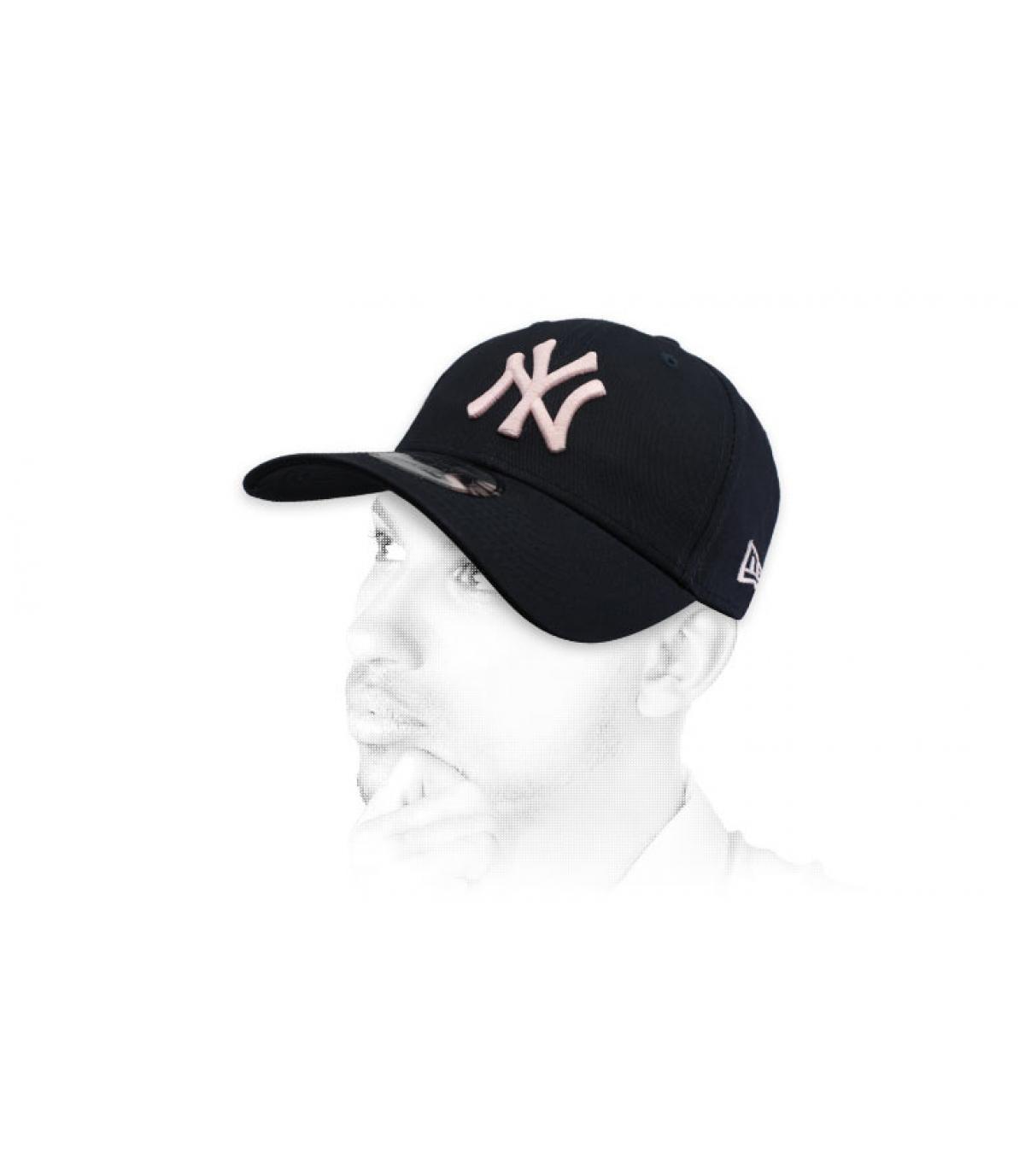 berretto NY nero rosa