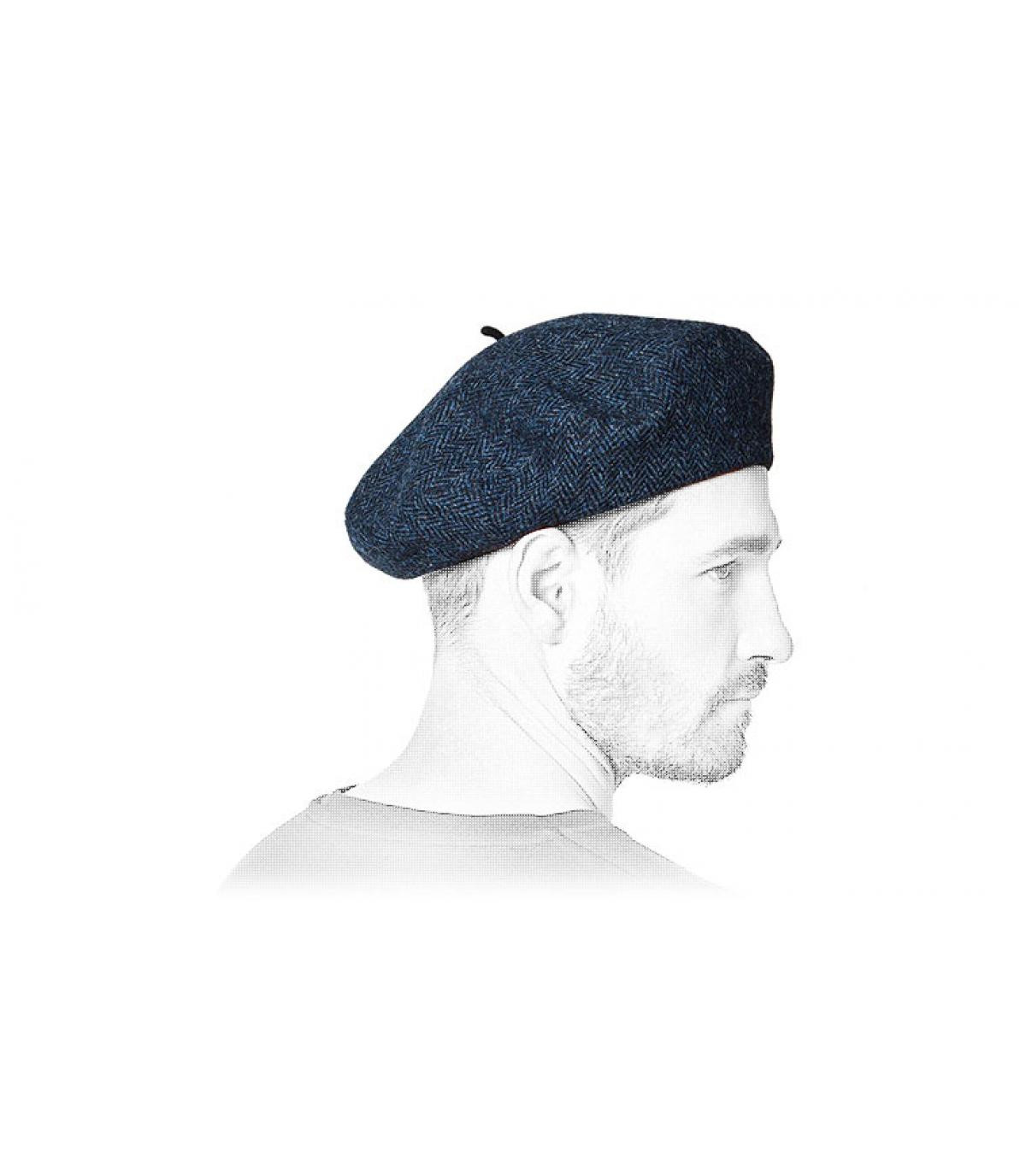 berretto di tweed blu