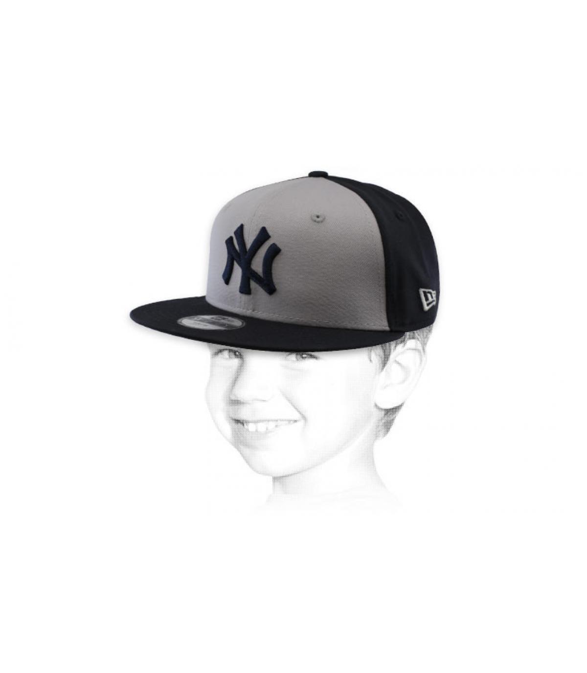 snapback NY bambino grigio nero