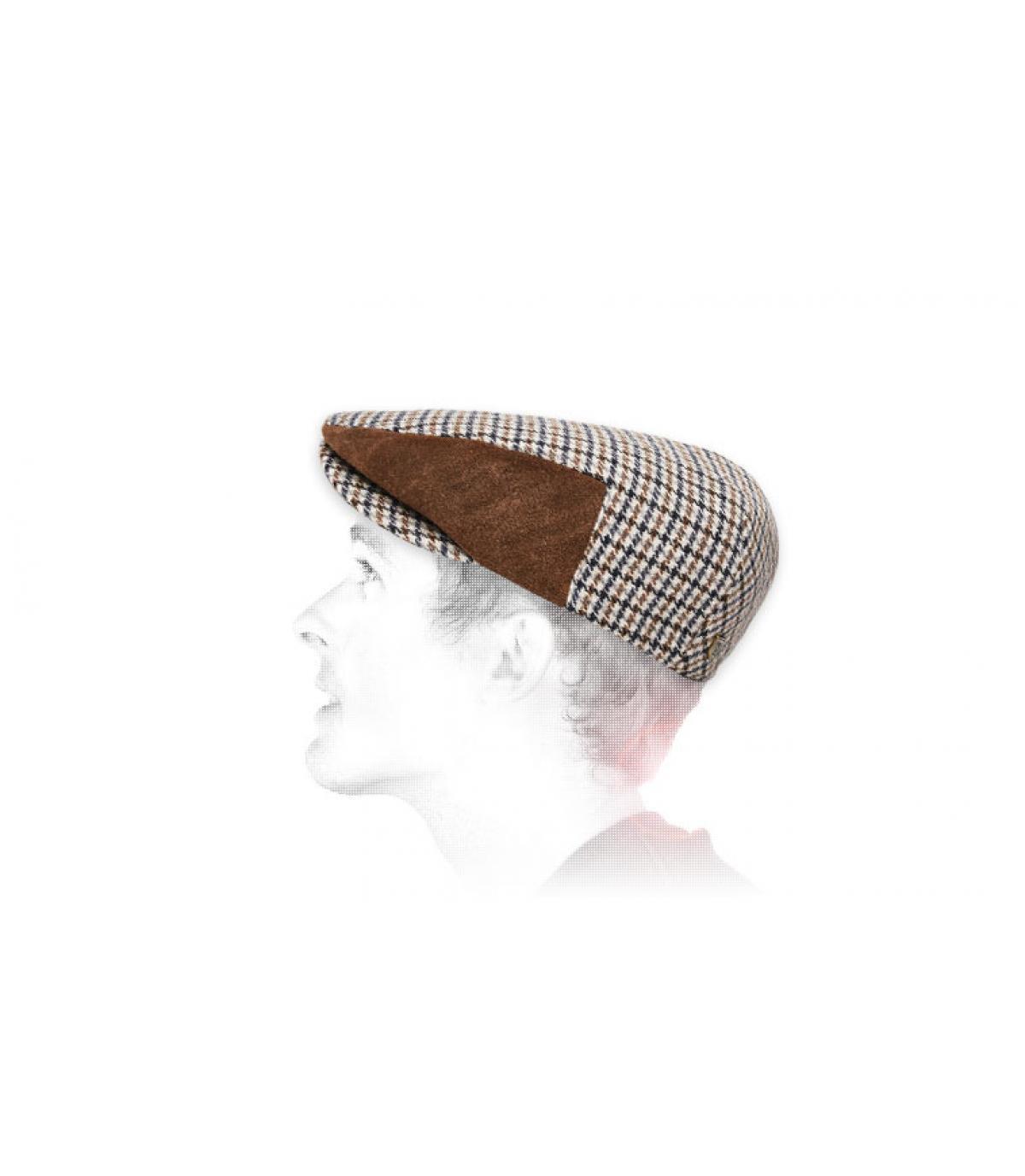 pelle scamosciata berretto pied-de-poule