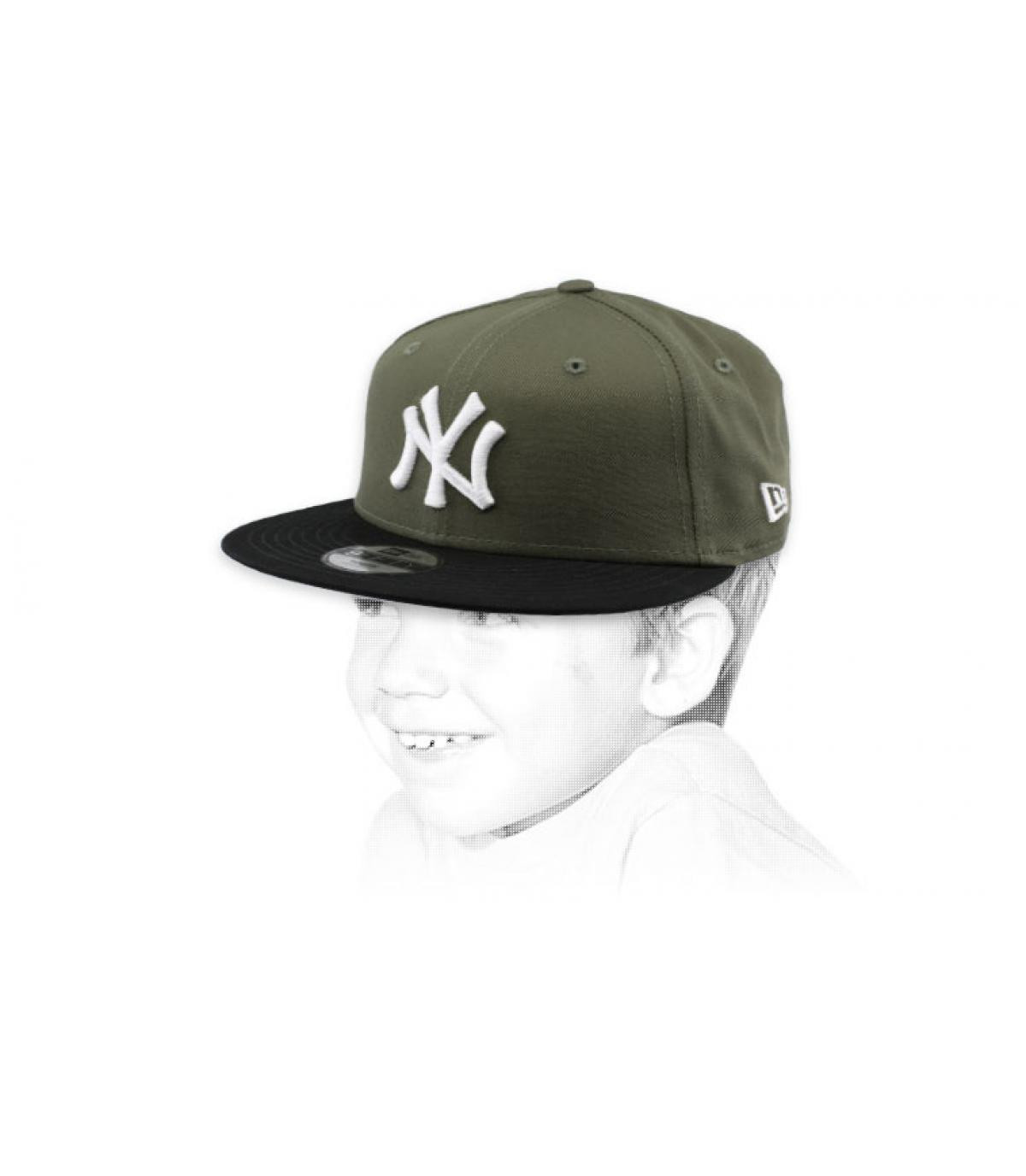 cappellino bambino NY verde nero