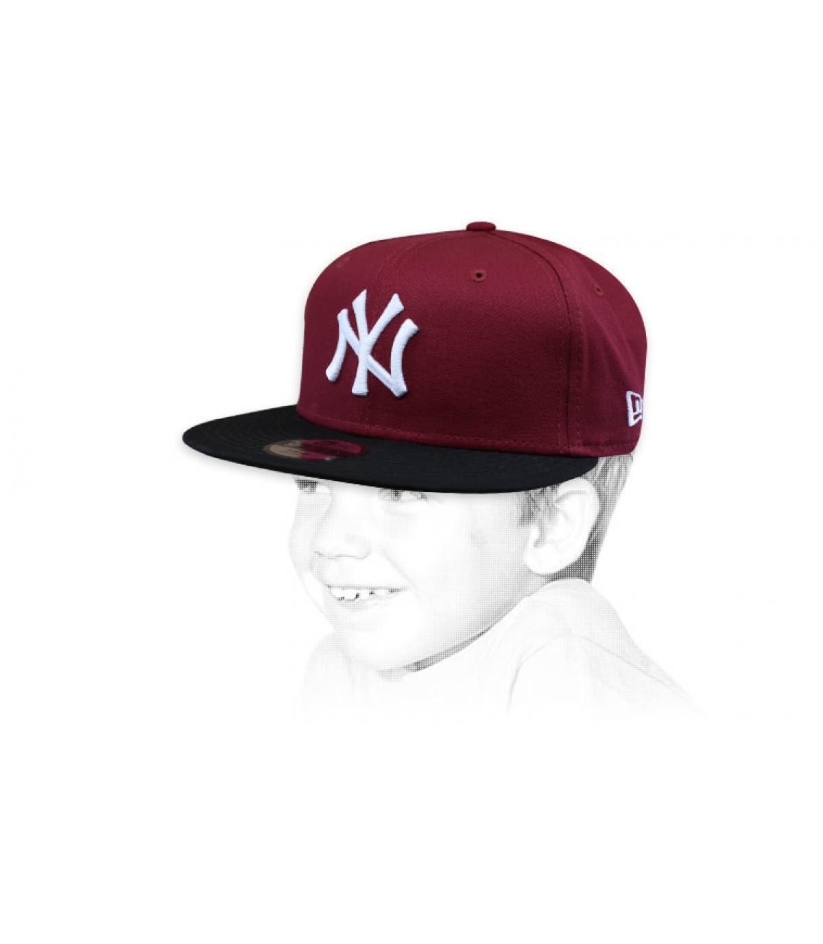 cappellino bambino NY bordeaux nero