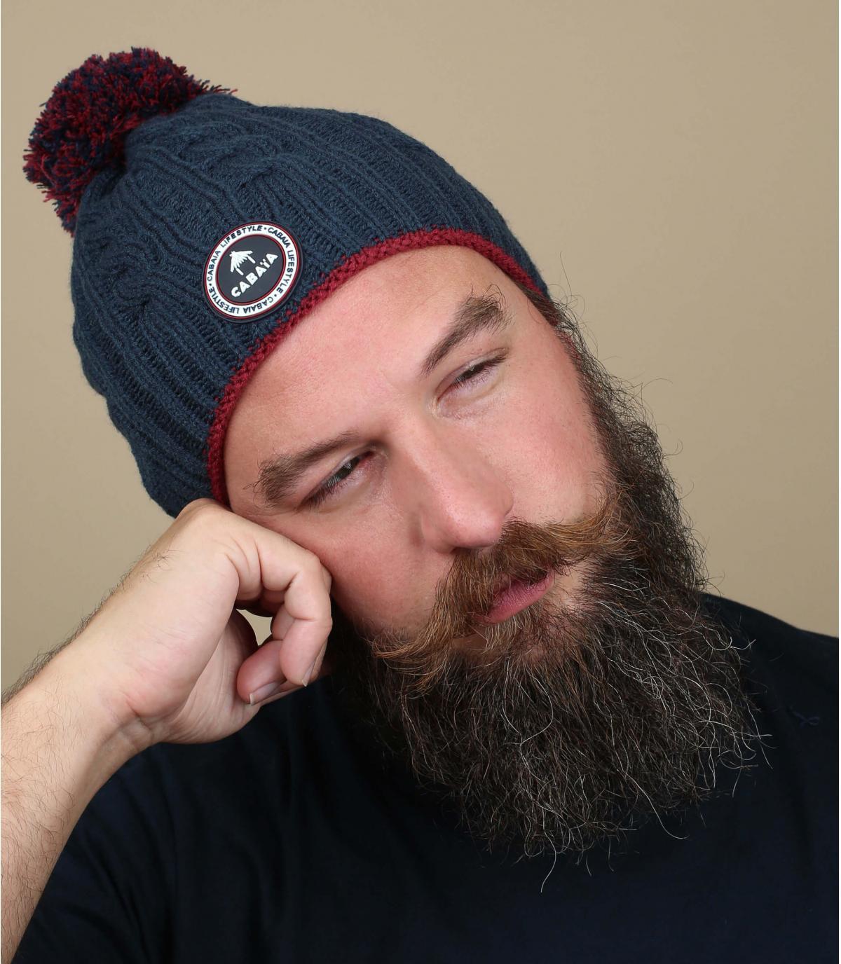 cappello pompon blu scuro