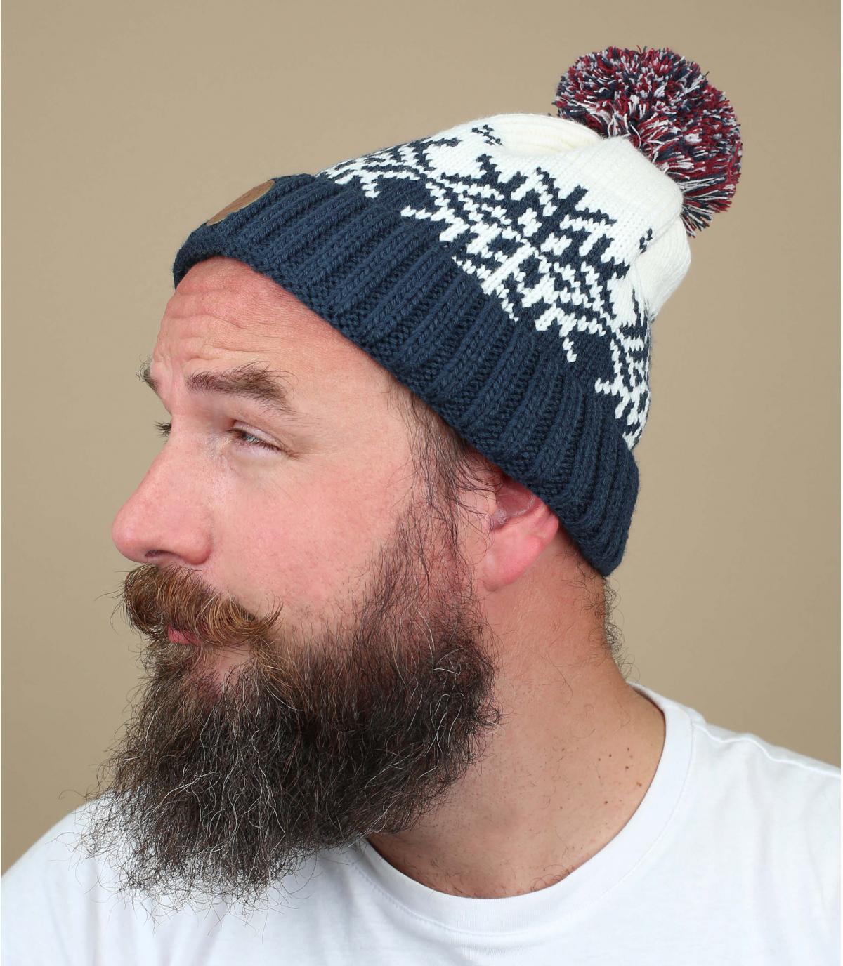 cappello pompon fiocco blu