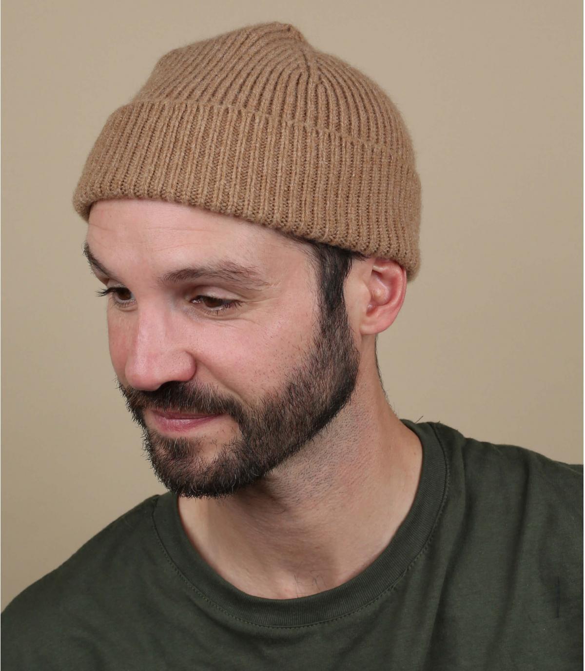 bavero in lana con cappuccio beige
