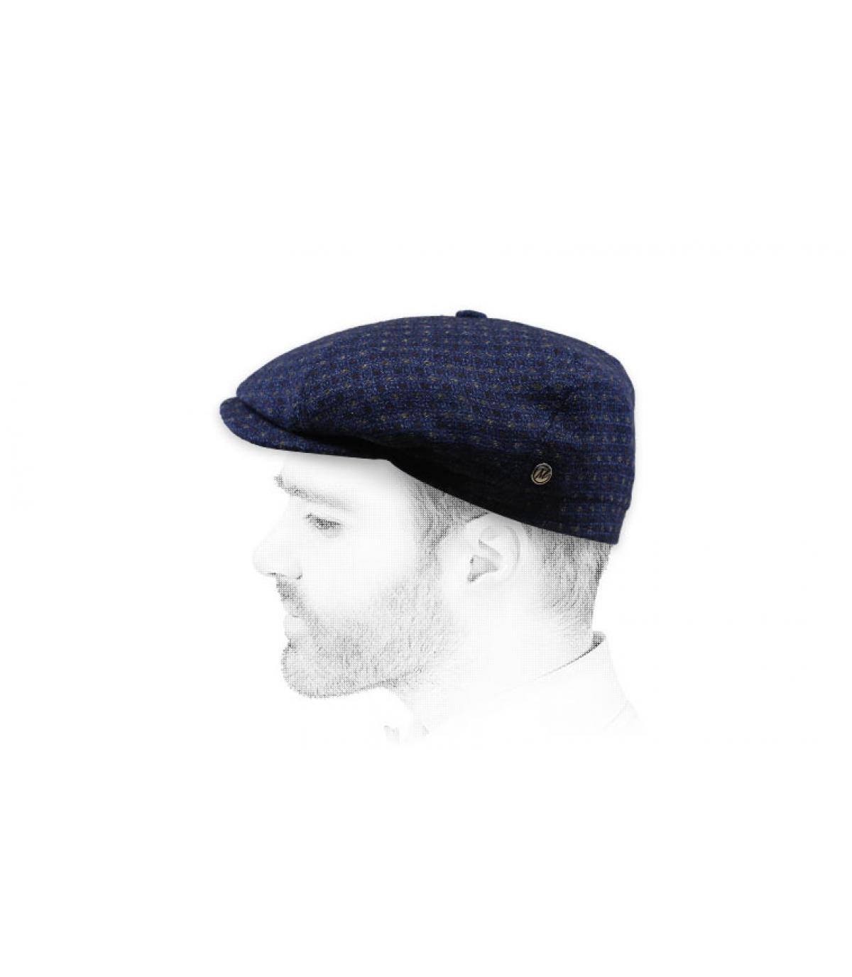 berretto in lana cashmere blu navy