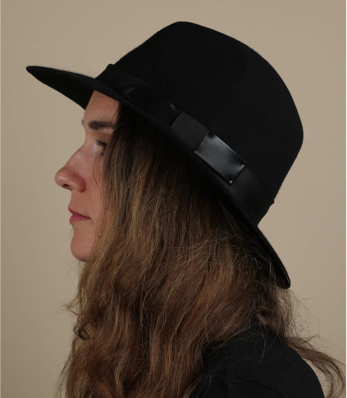 cappello fedora in feltro nero