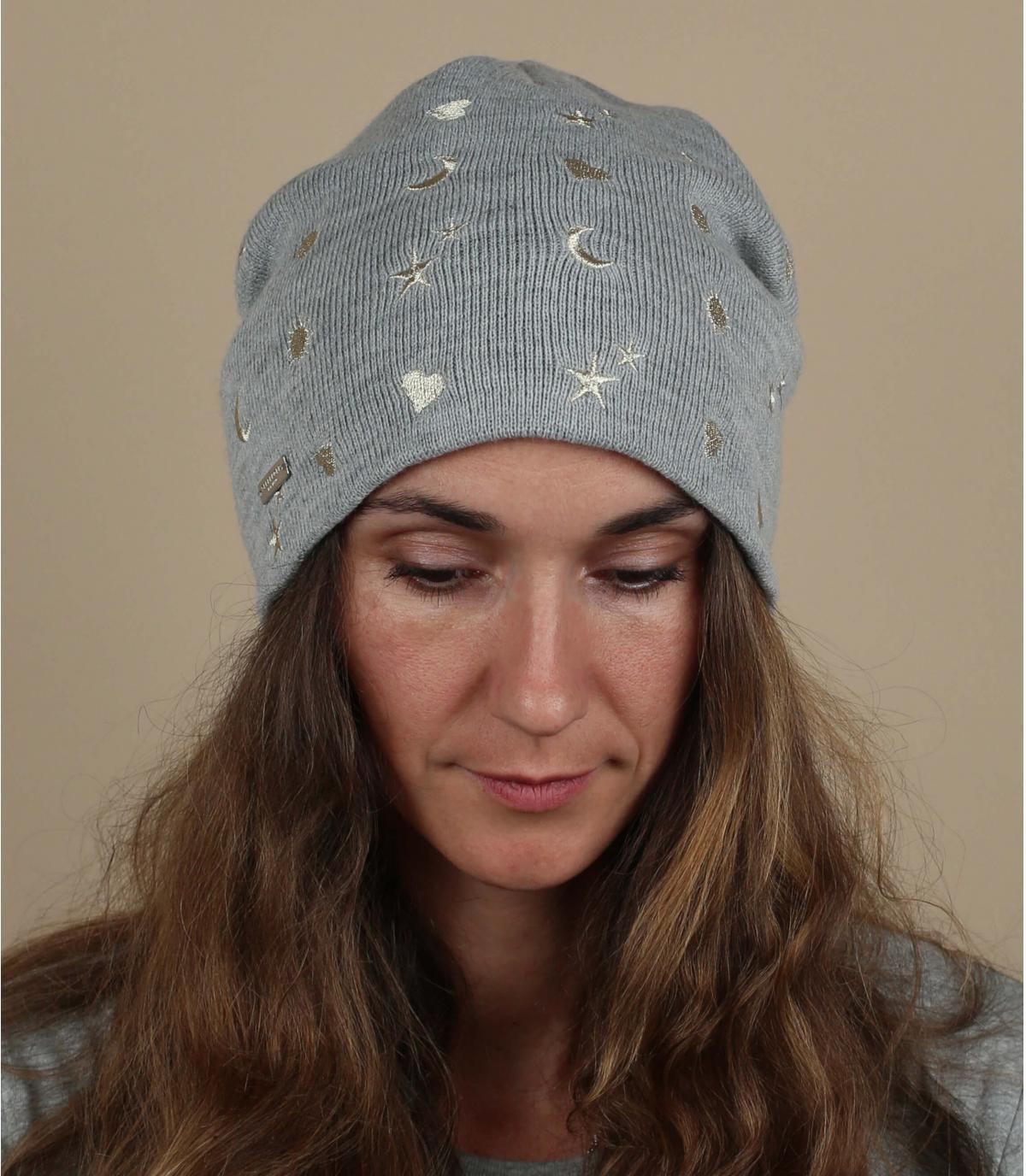 cappello grigio con motivo a stella