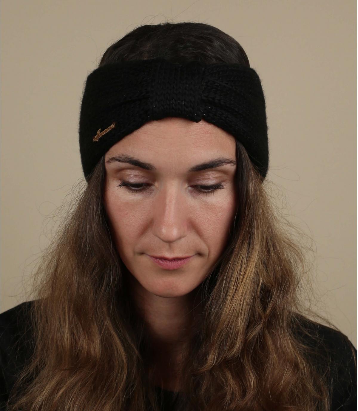 fascia in lurex di lana nera