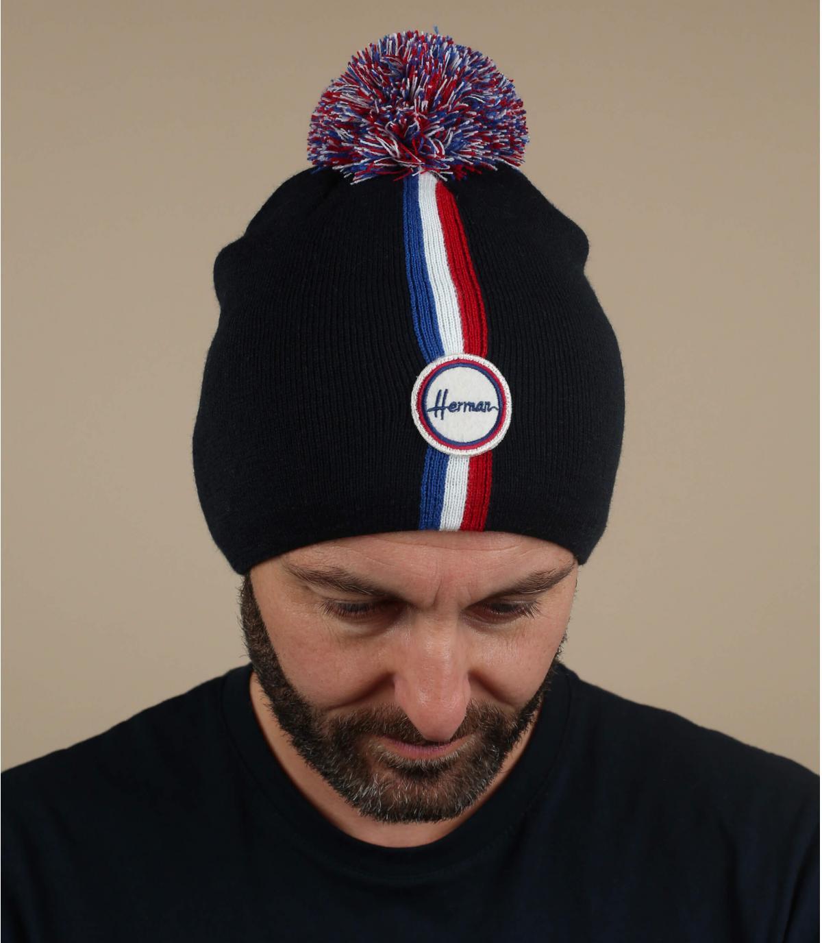 cappello pompom blu