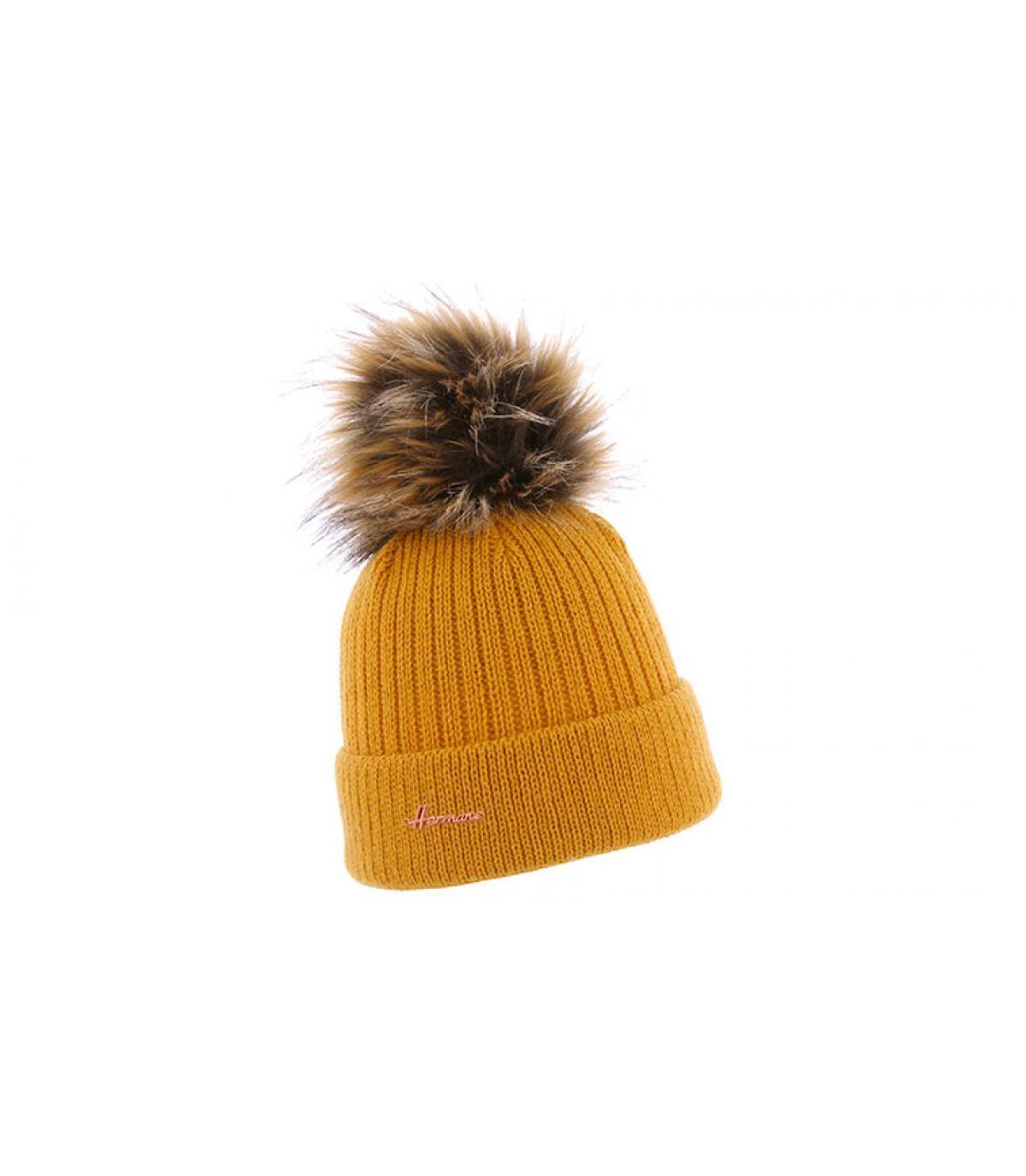 pelliccia da pompom cappello giallo