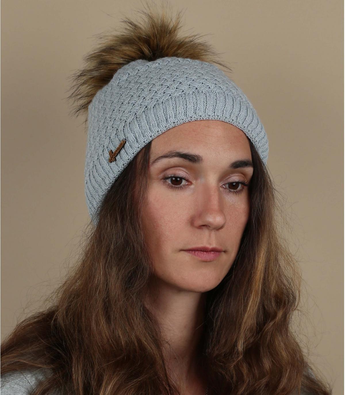 berretto di pelliccia pompon grigio