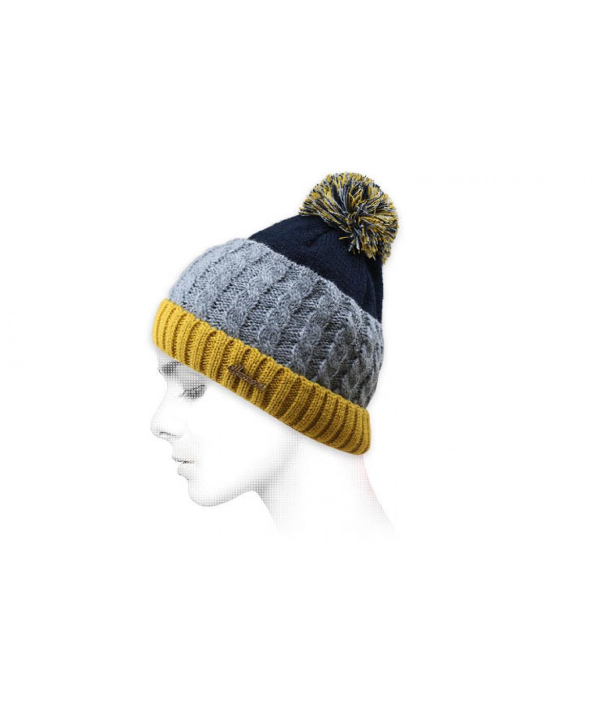cappello nappa blu giallo grigio