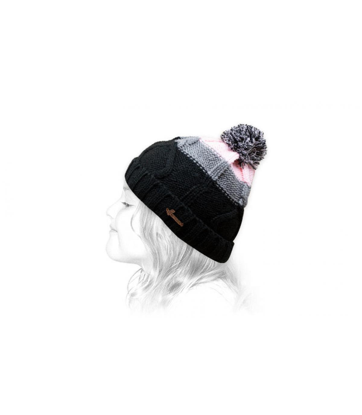 cappello nappa nero rosa
