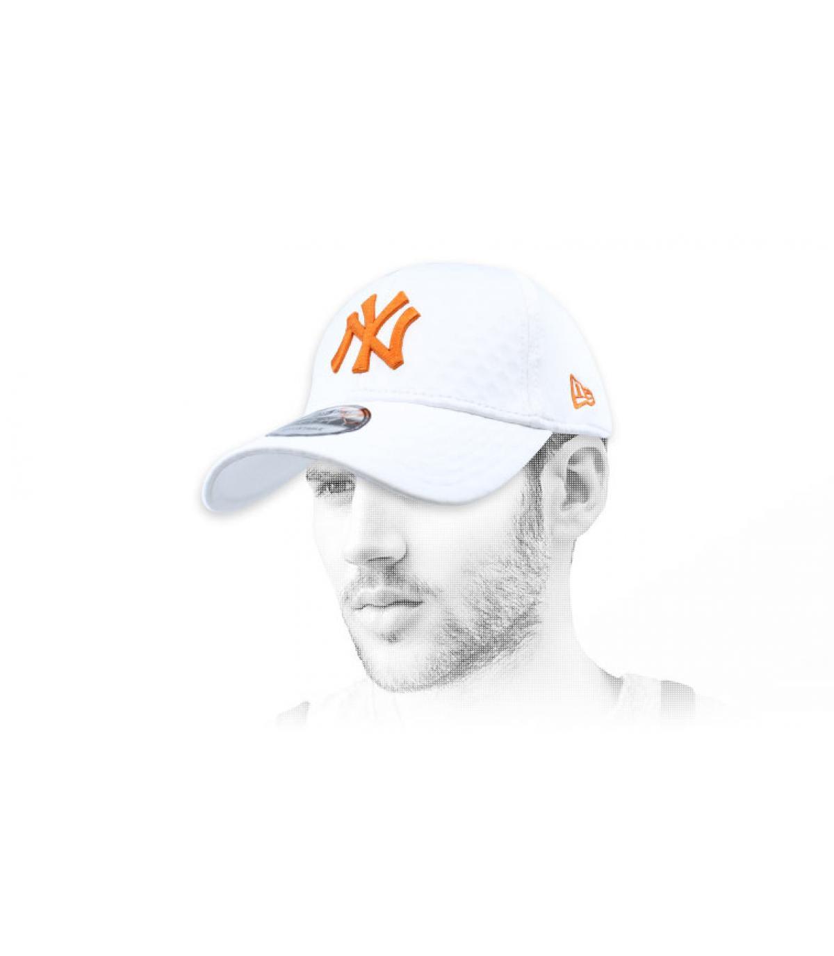 Berretto NY bianco arancio