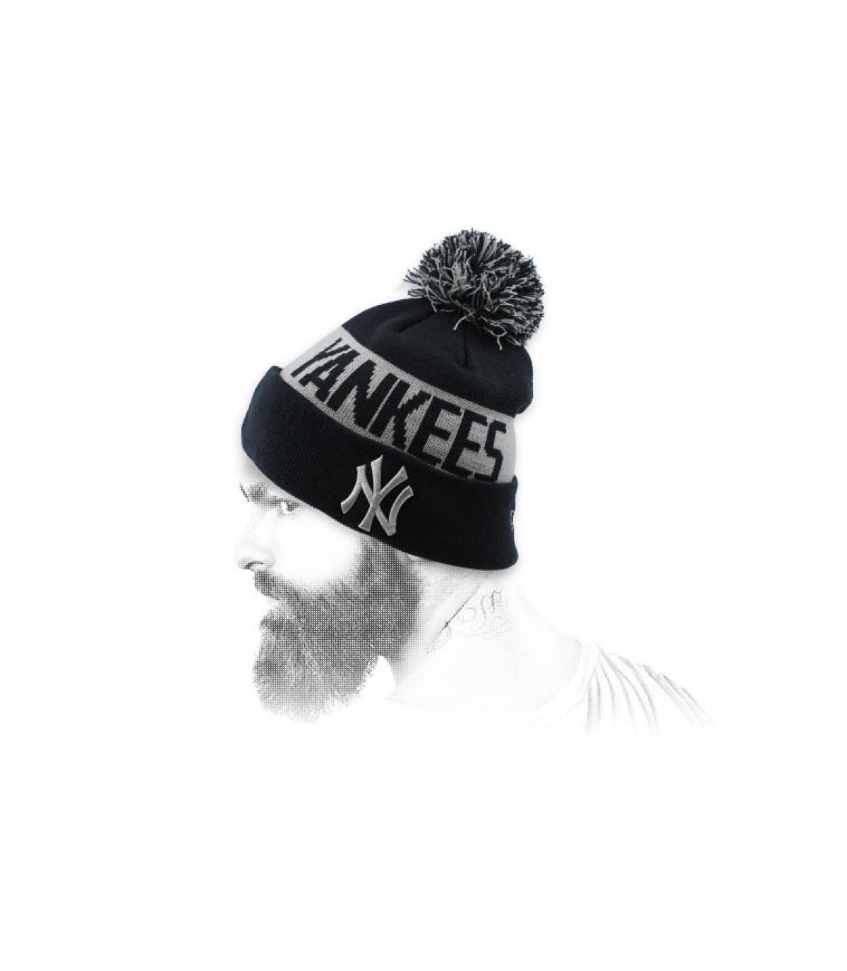 bonnet NY risvolto nero grigio
