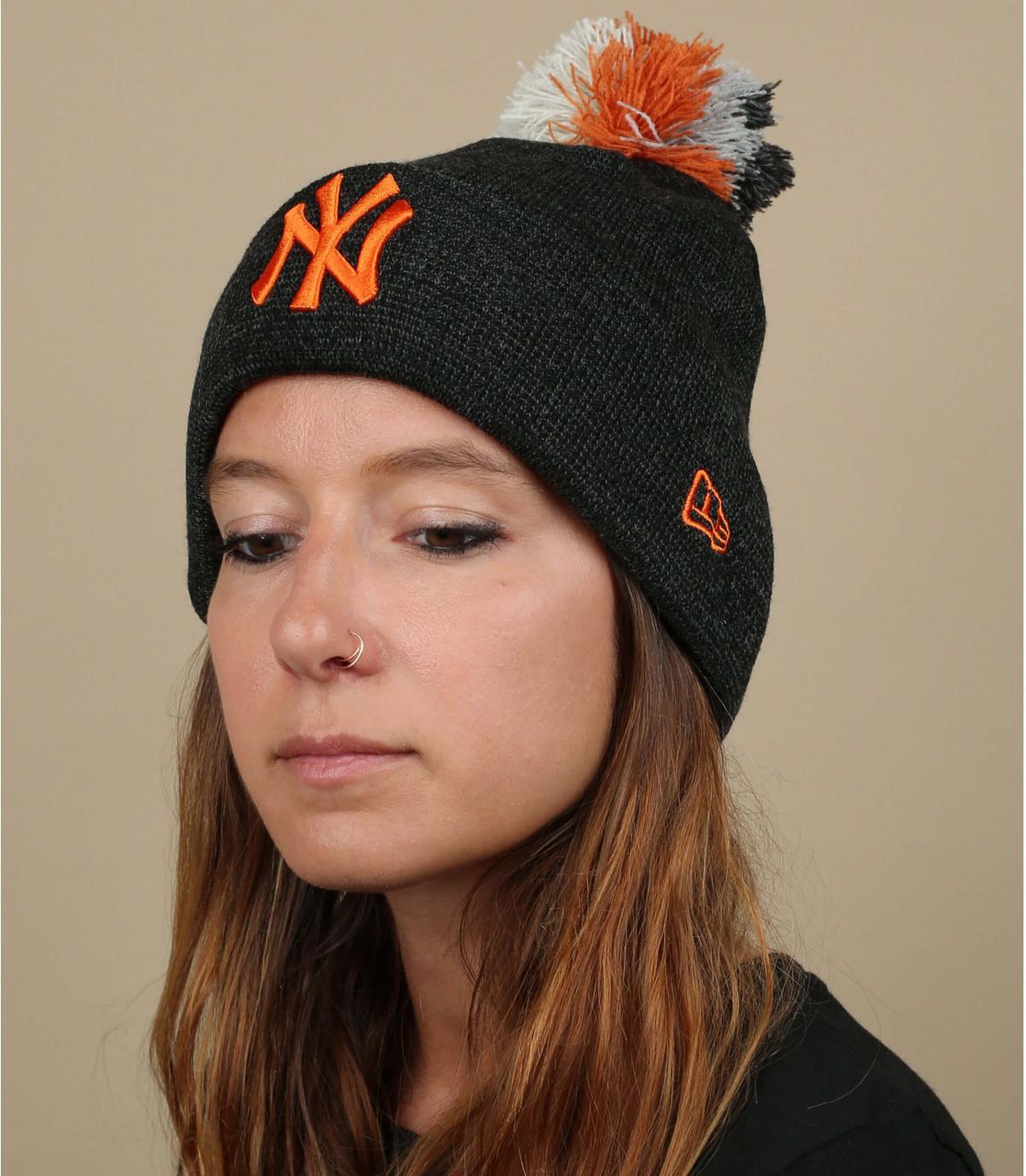 NY cappello donna grigio arancio