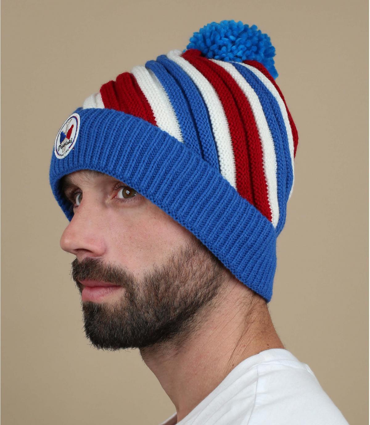 cappello rosso strisce blu