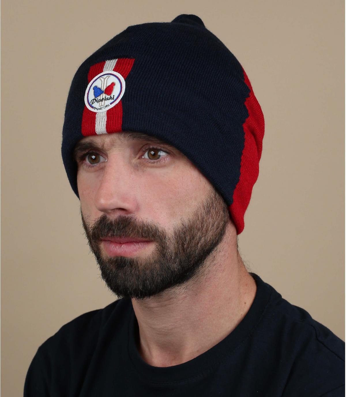 cappello lungo rosso blu