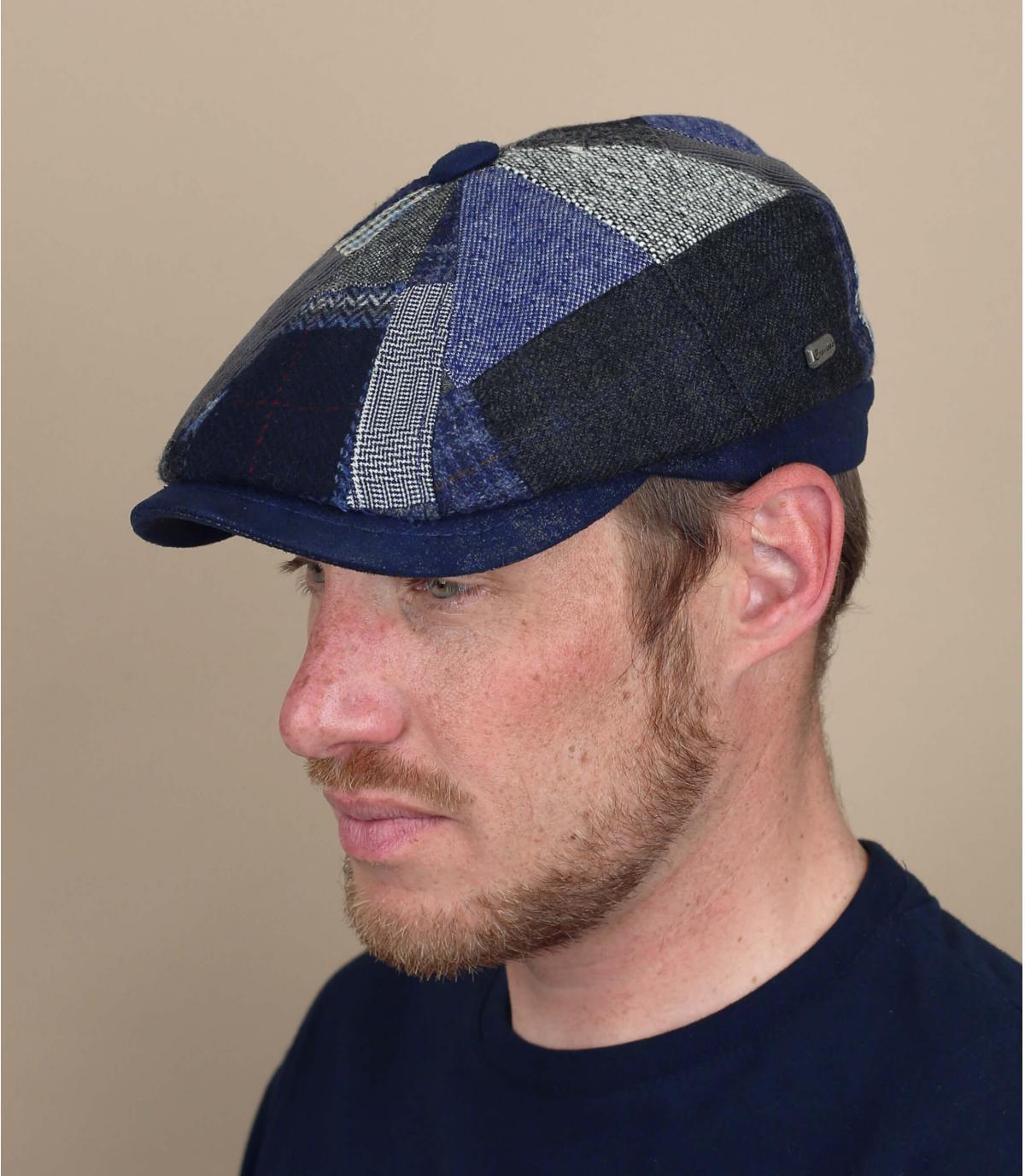 berretto newsboy per berretto in lana blu