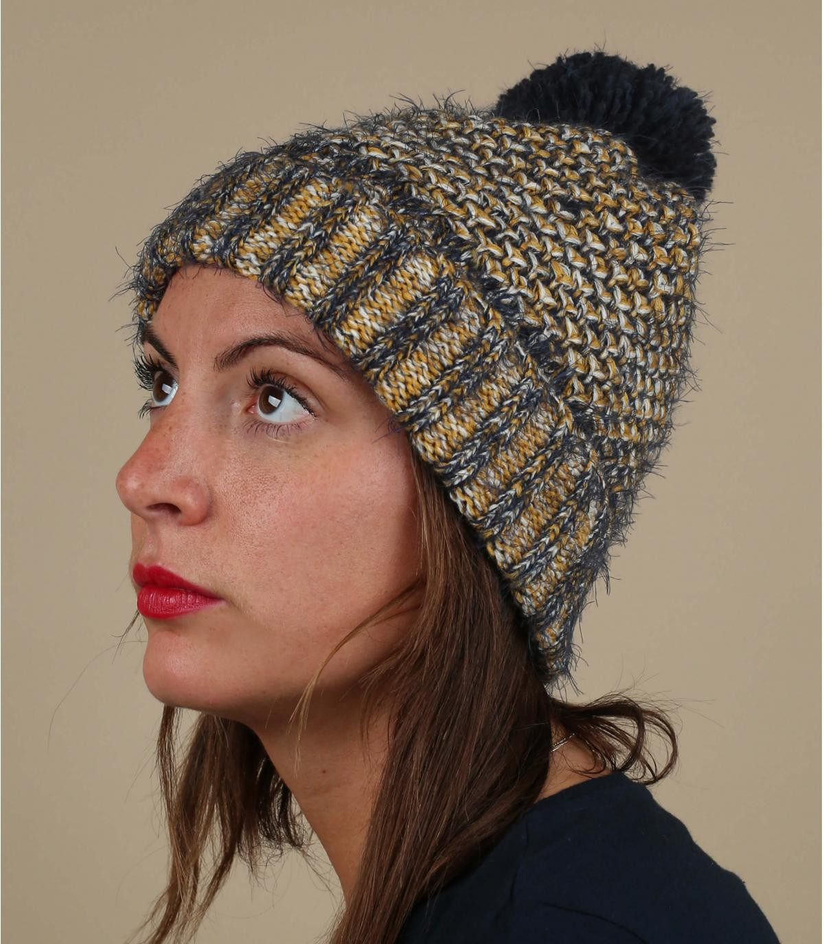 cappello pompon giallo blu
