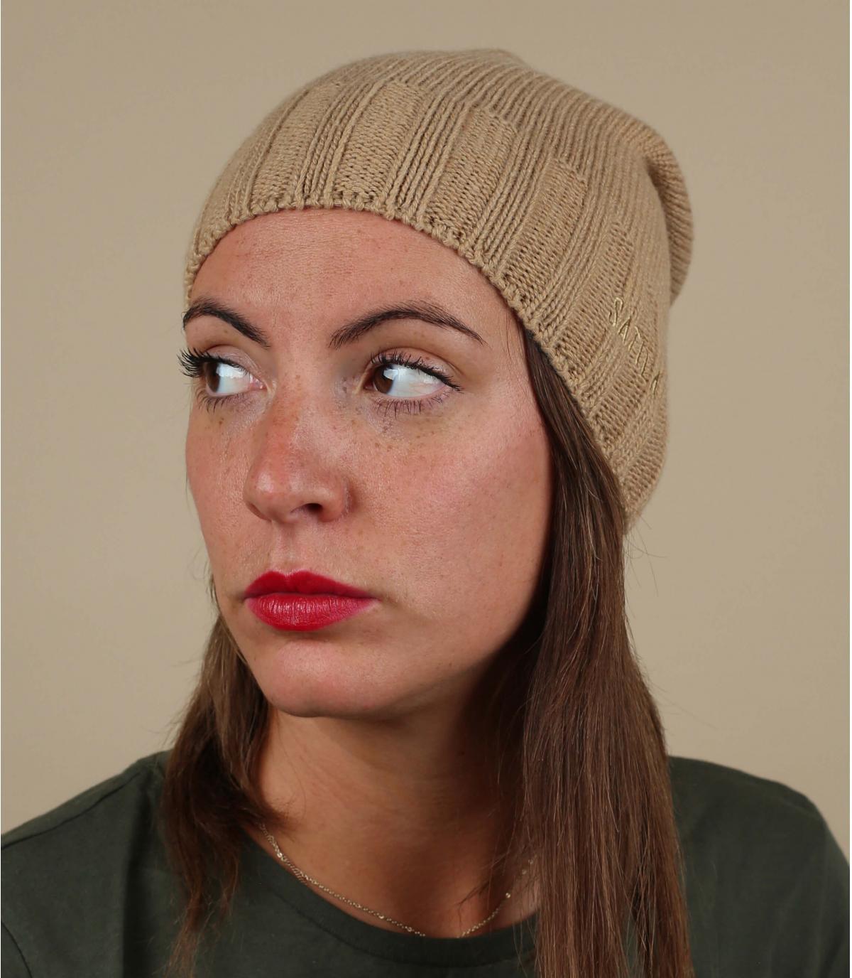 berretto lungo beige lana cashmere