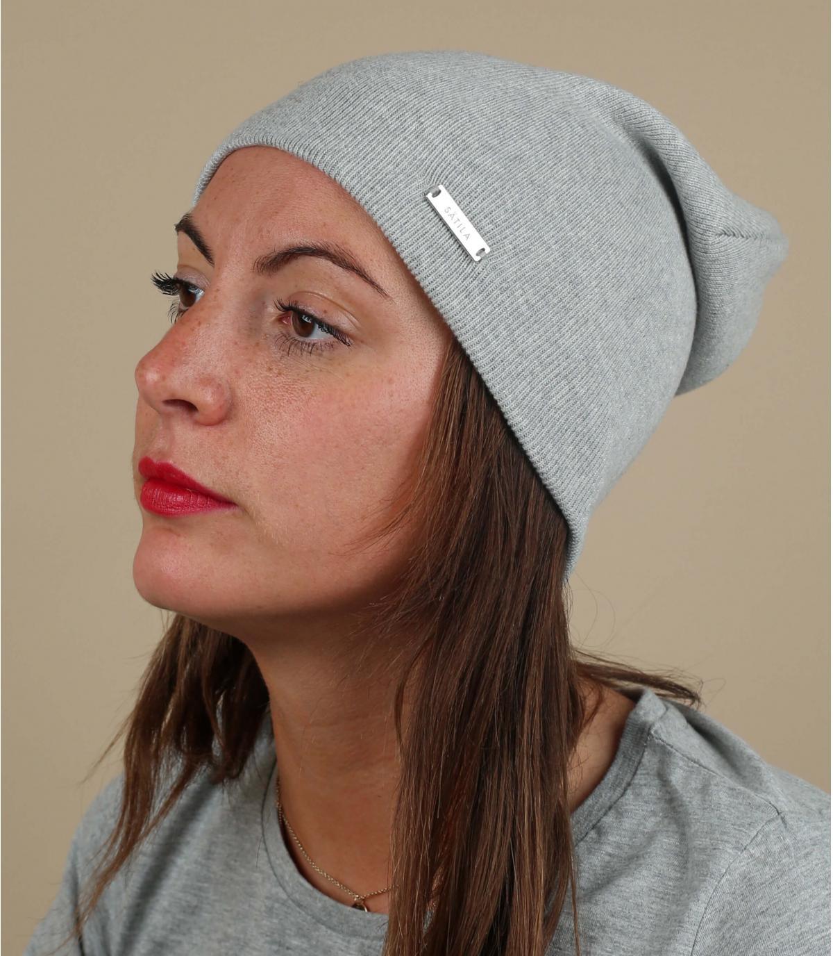 cappello organico lungo in cotone grigio